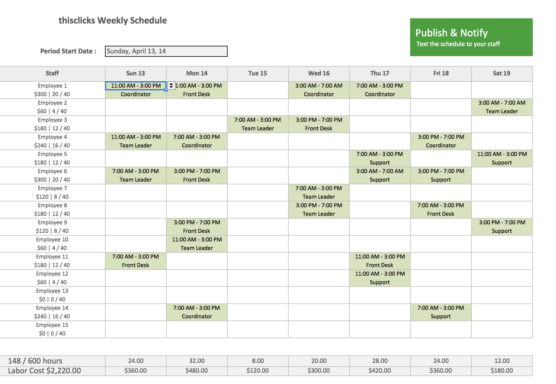 Employee Schedule Template Monthly - Papak.cmi-C in Printable Blank Weekly Employee Schedule