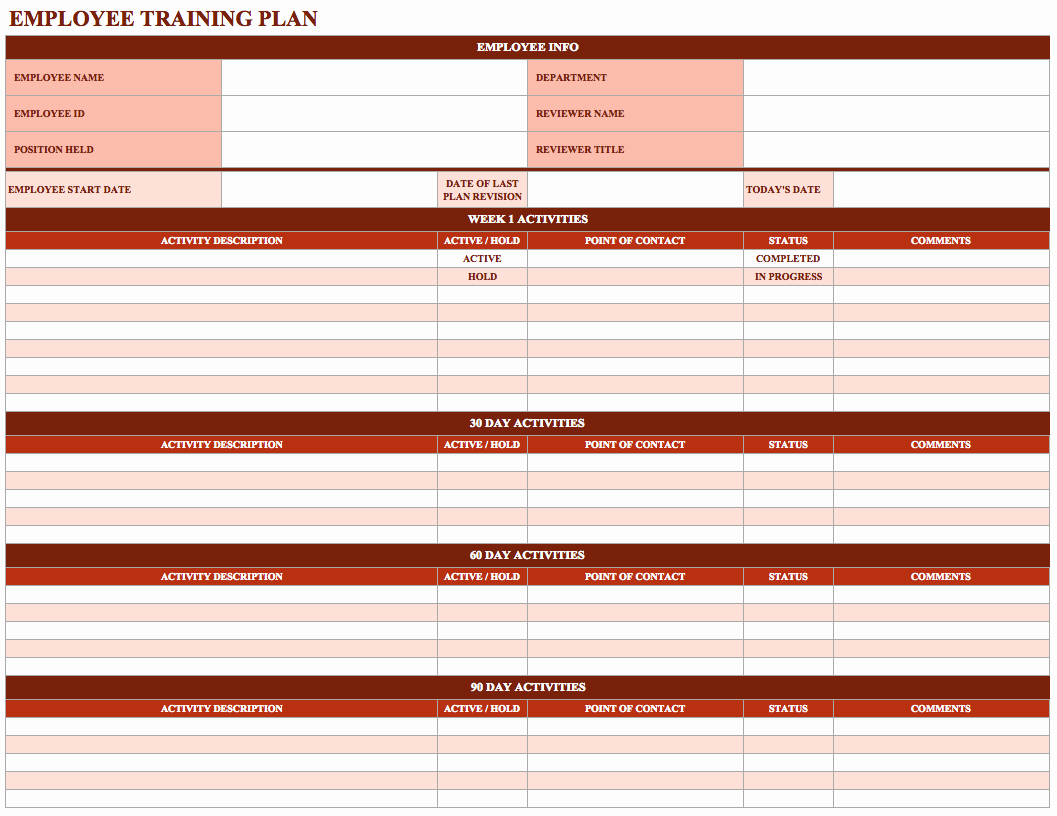 Employee Training Plan Template Excel Of Spreadsheet Resume Schedule pertaining to 30 Day Workout Calendar Template