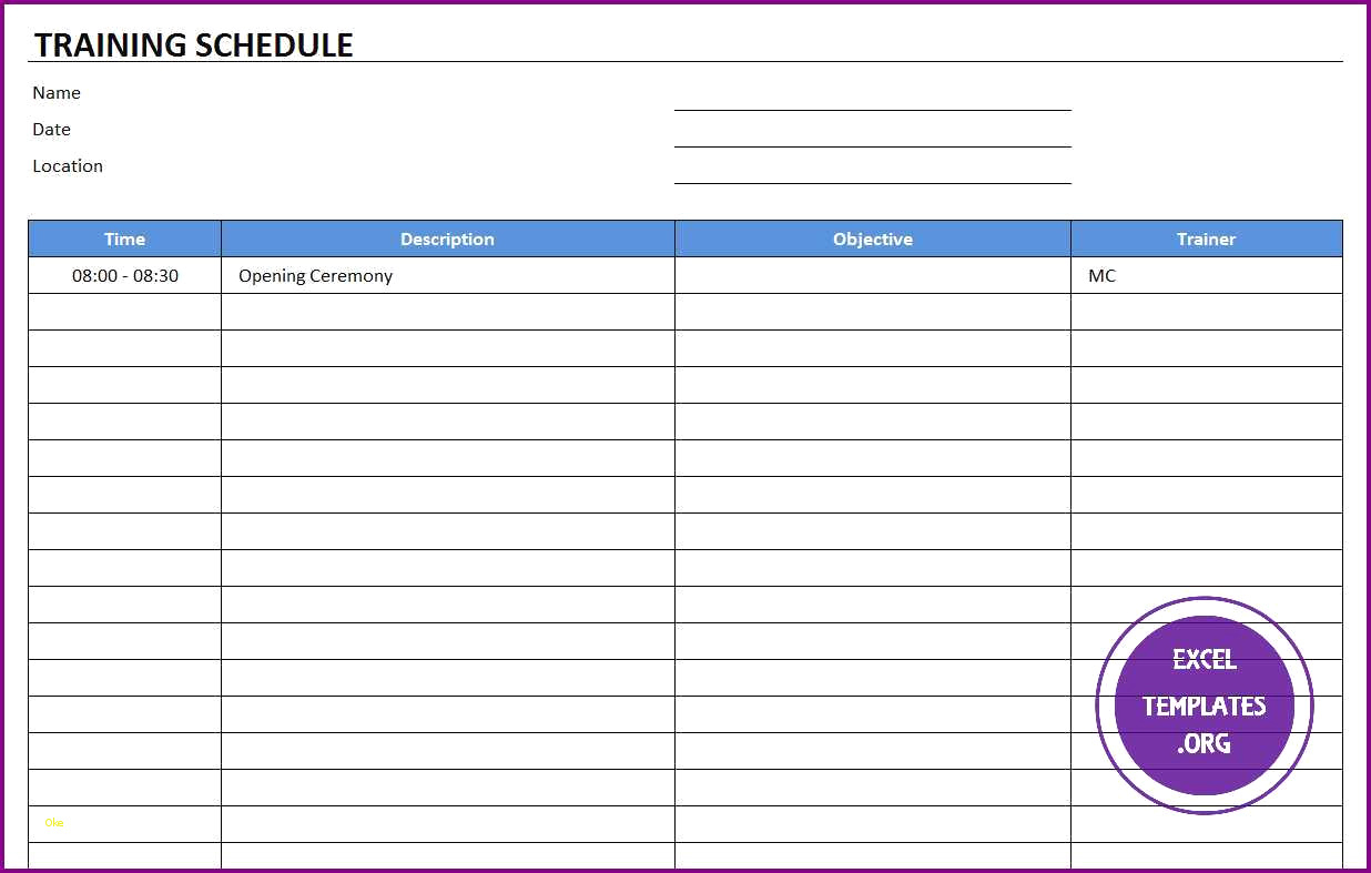 Employee Training Schedule Template L Free Annual Calendar Running pertaining to Free Printable Blank Training Plan Year