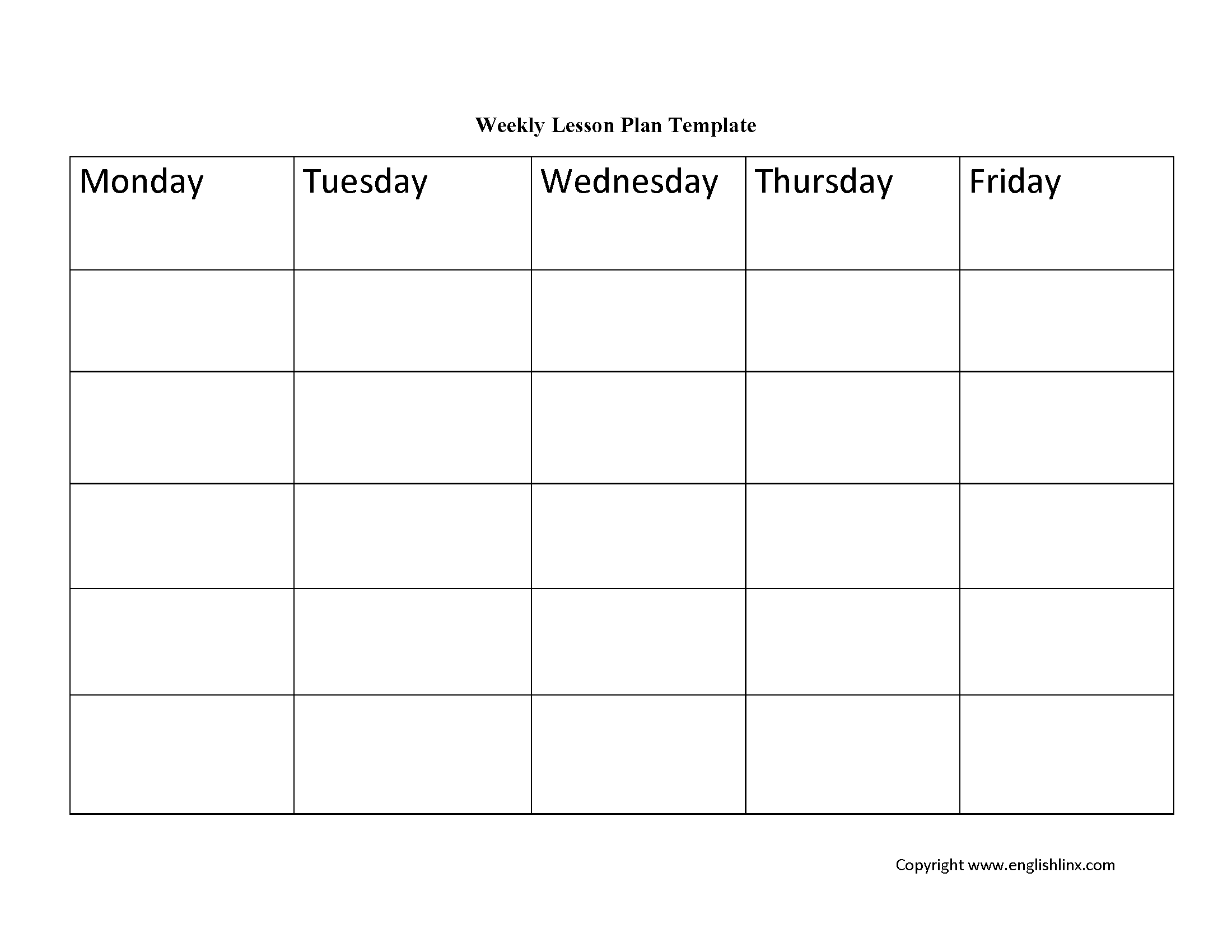 Englishlinx | Lesson Plan Template pertaining to Lesson Plan Template Printable Monthly