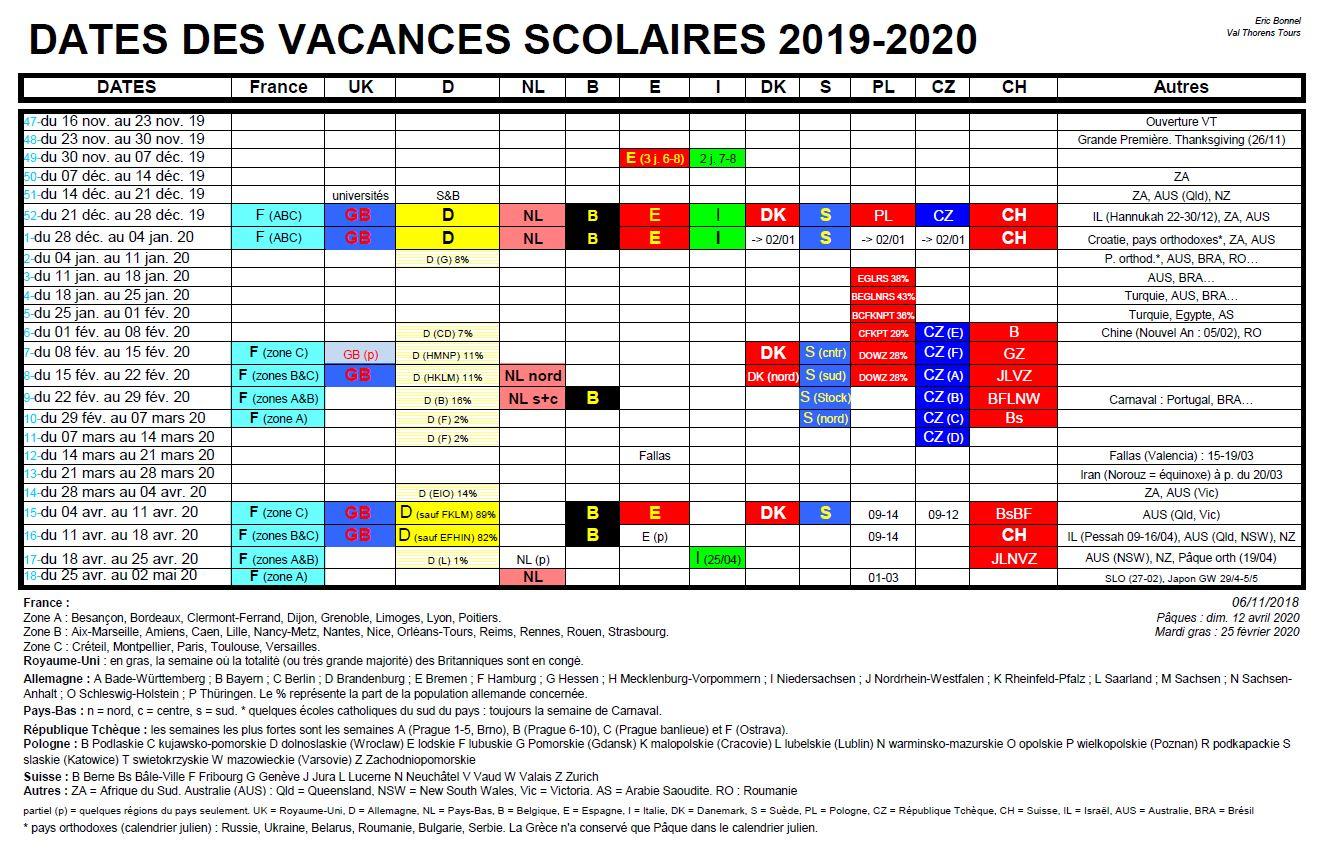 European School Holidays 2019-20, Snowheads Ski Forum for U Of M School Year 2019-2020