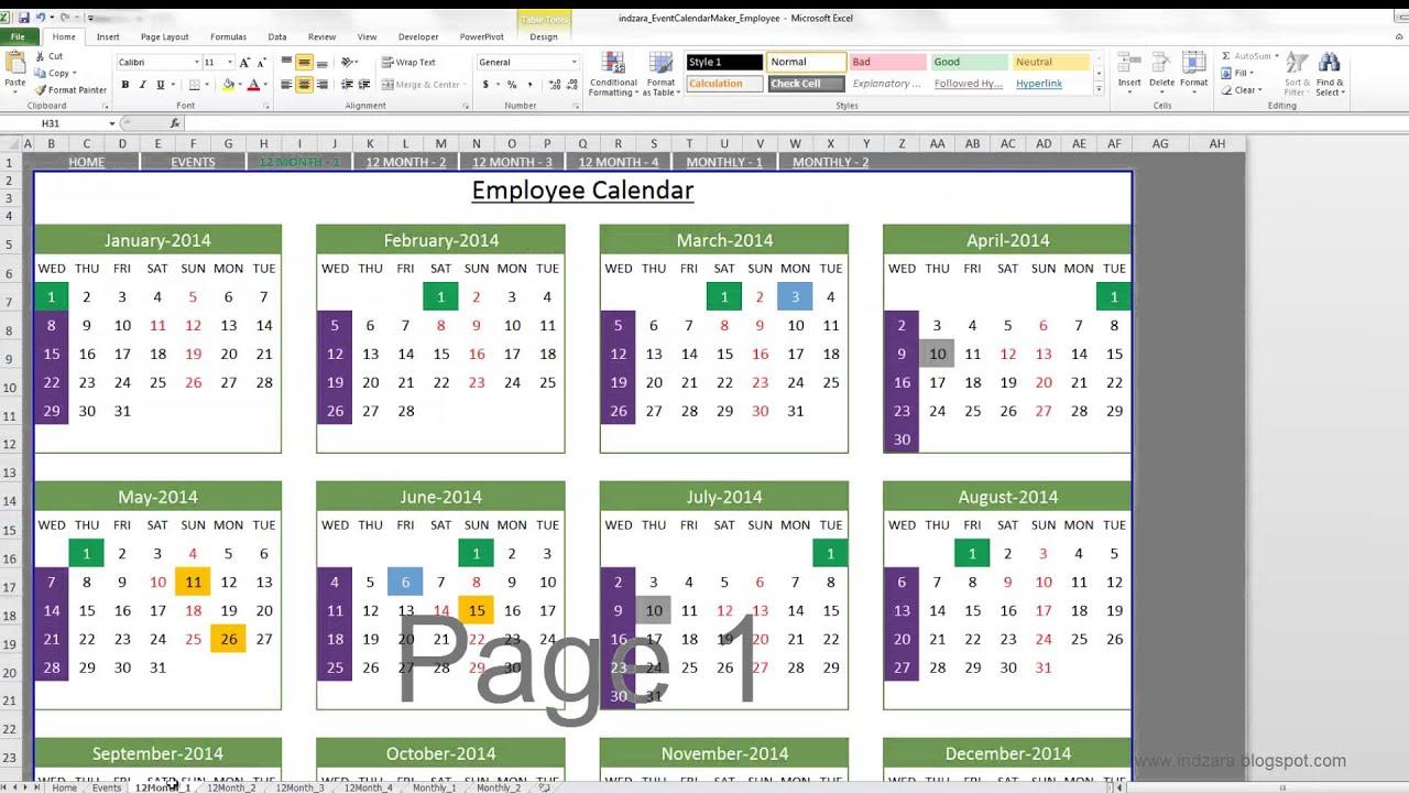 Event Calendar Maker (Excel Template) throughout Yearly Event Calendar Template Excel