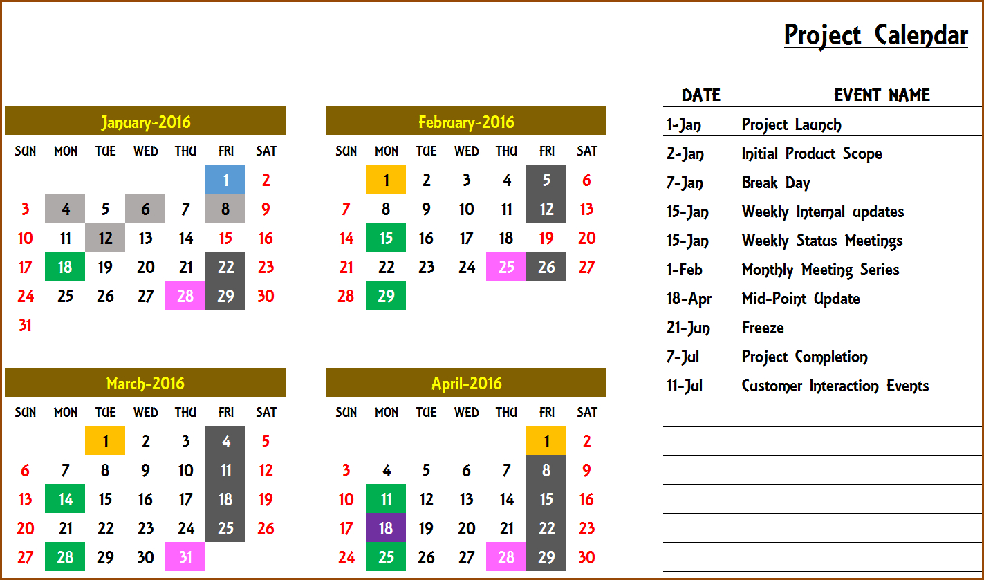 Event Calendar Maker Excel Template V3 - Support with regard to Calendar Of Events Template Free