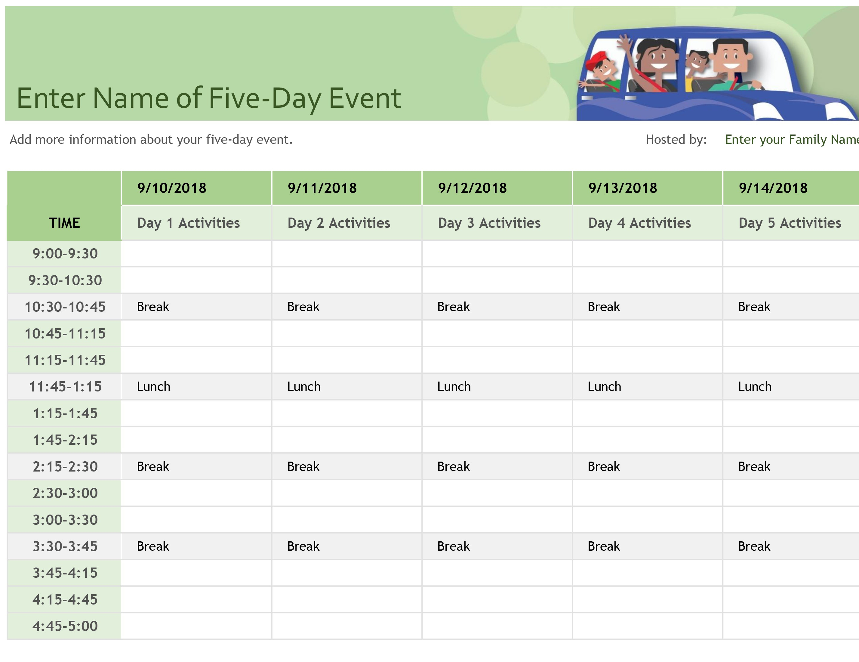 Event Le Template Excel Checklist Free Calendar Planner Spreadsheet regarding Event Schedule Planner Template
