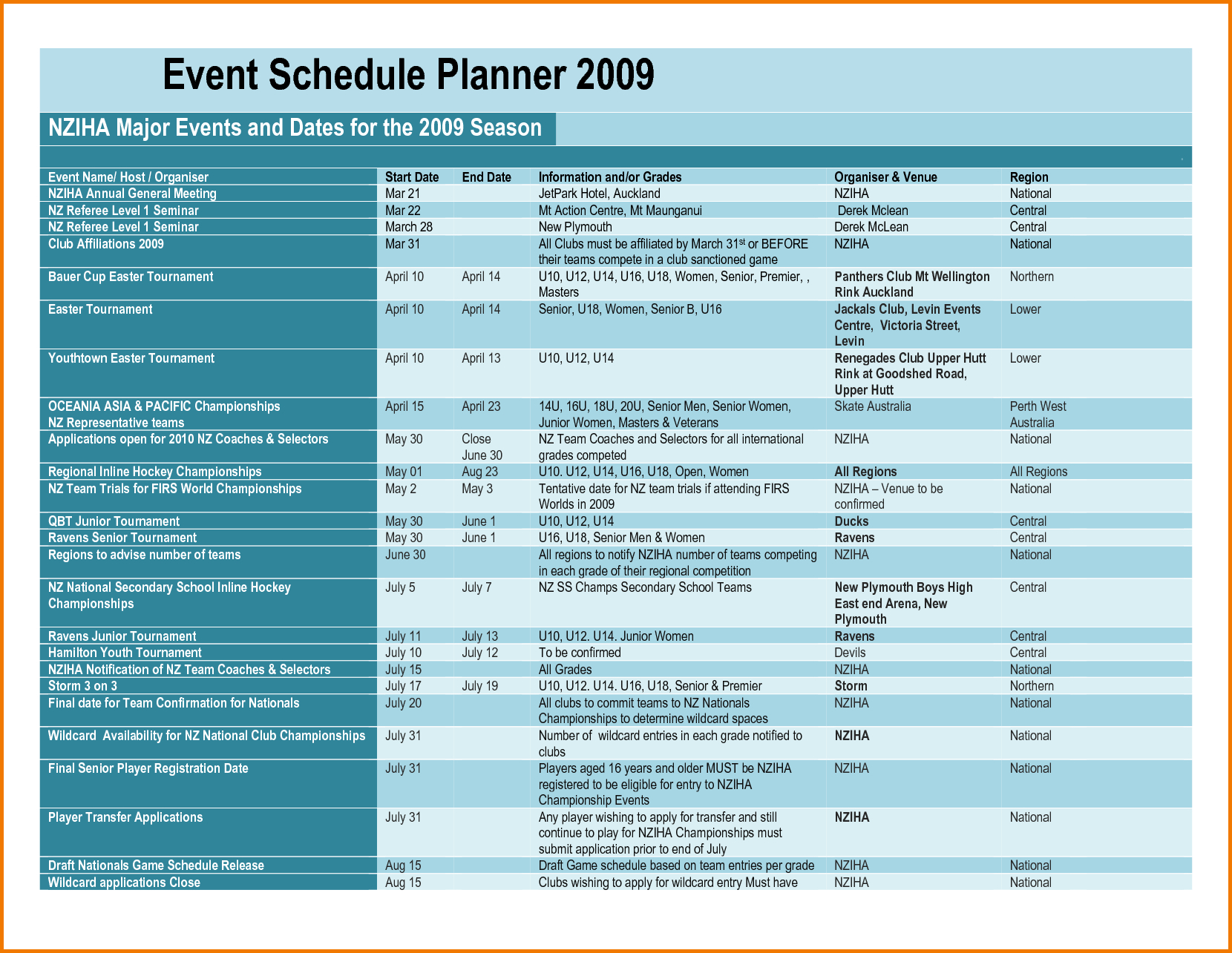 Event Schedule Template | Authorization Letter Pdf intended for Event Schedule Planner Template