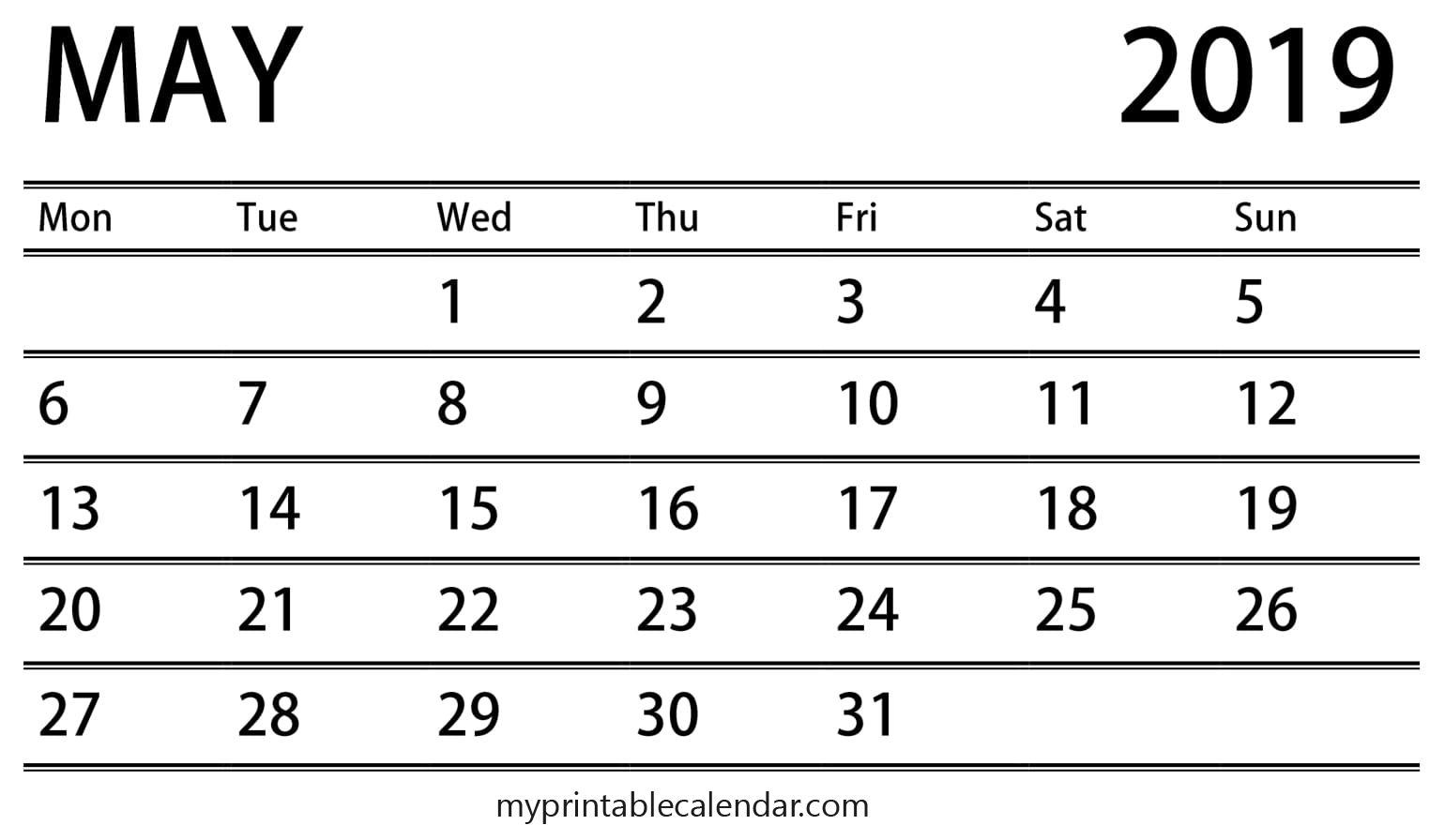 Events Calendar For May 2019 | May Calendar 2019 | Free Printable pertaining to Free Printable Event Calendar Template
