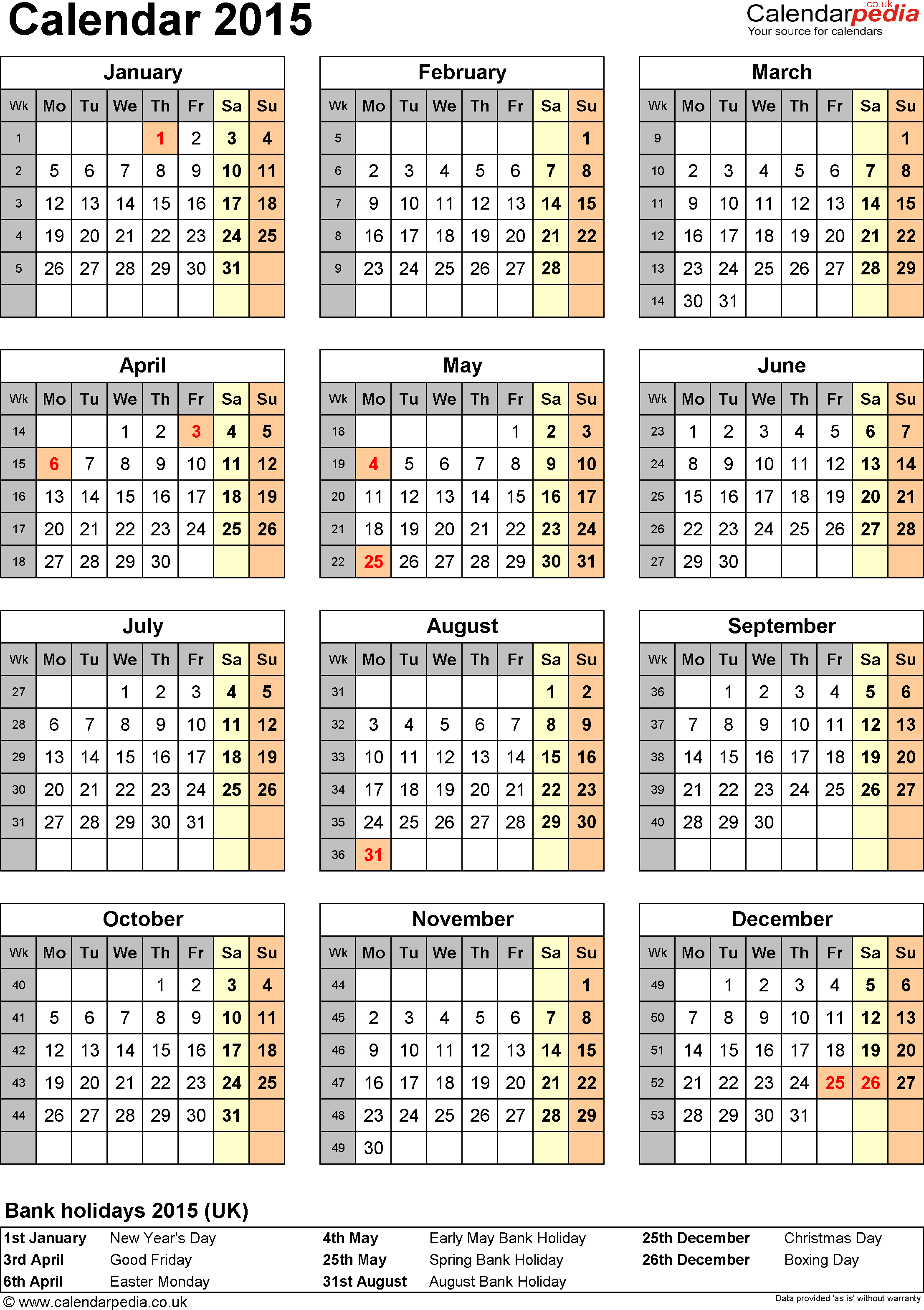 Excel Calendar 2015 (Uk): 16 Printable Templates (Xlsx, Free) for Holiday Chart Templates Uk