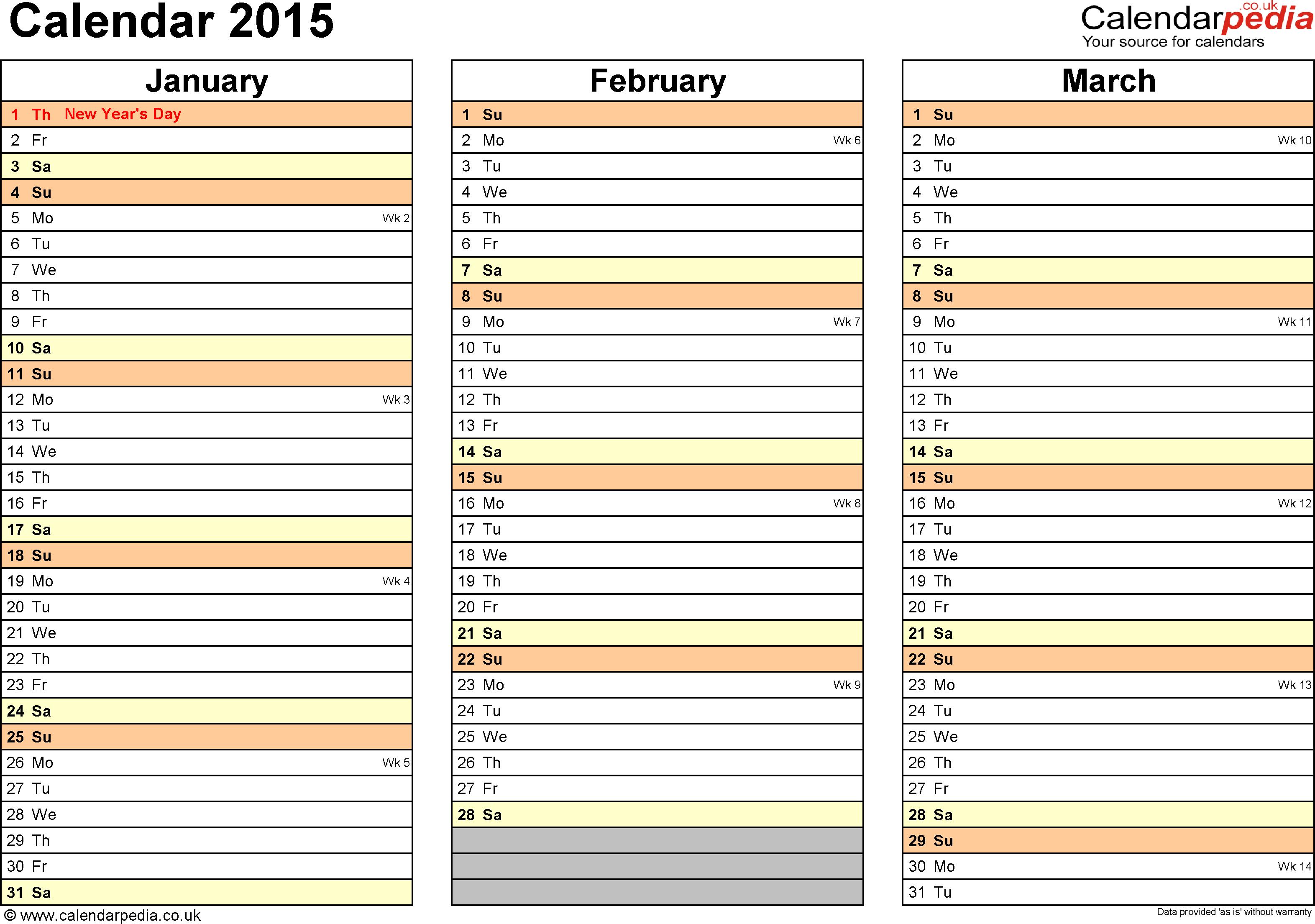 Excel Calendar 2015 (Uk): 16 Printable Templates (Xlsx, Free) within Excel Quarterly Calendar Template