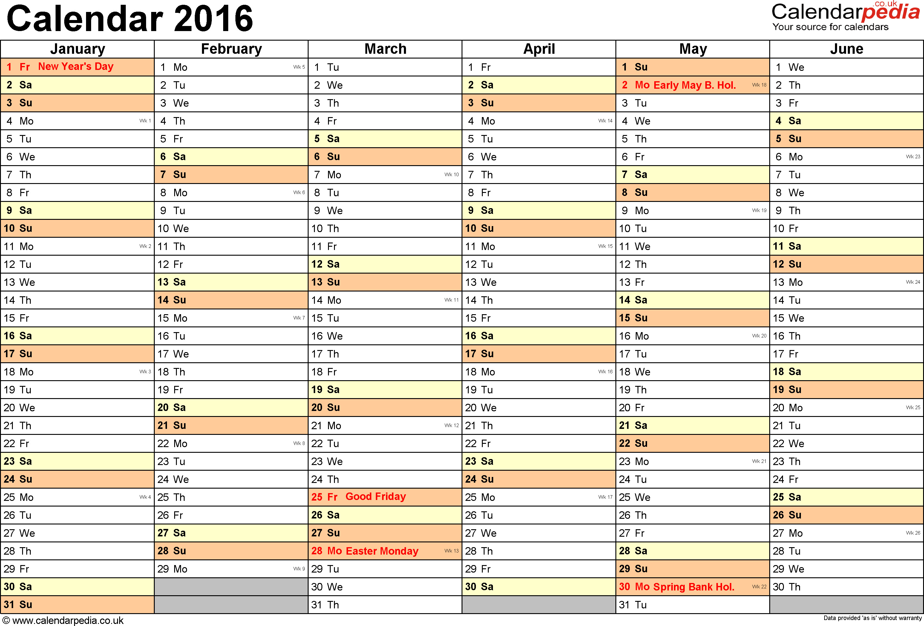 Excel Calendar 2016 (Uk): 16 Printable Templates (Xlsx, Free) pertaining to Holiday Chart Templates Uk