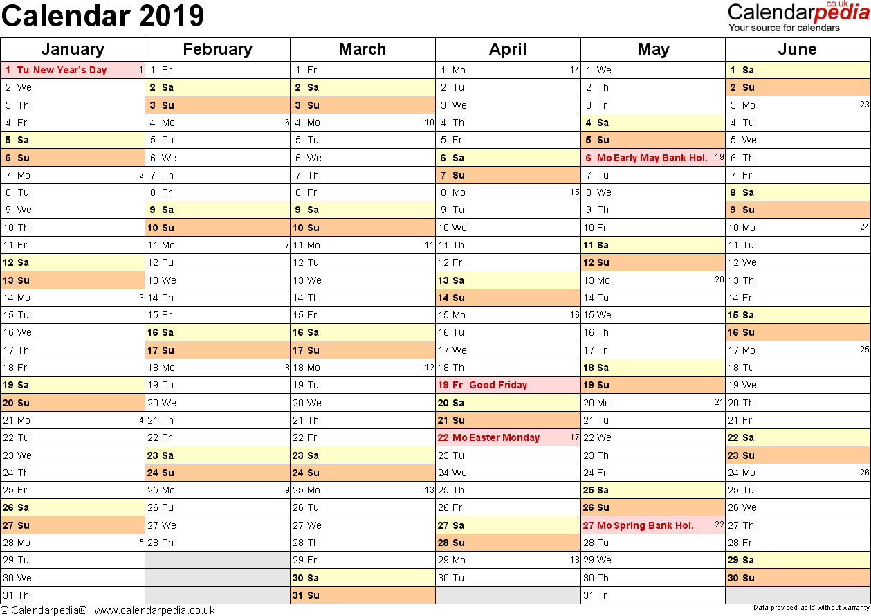Excel Calendar 2019 (Uk): 16 Printable Templates (Xlsx, Free) in Holiday Chart Templates Uk