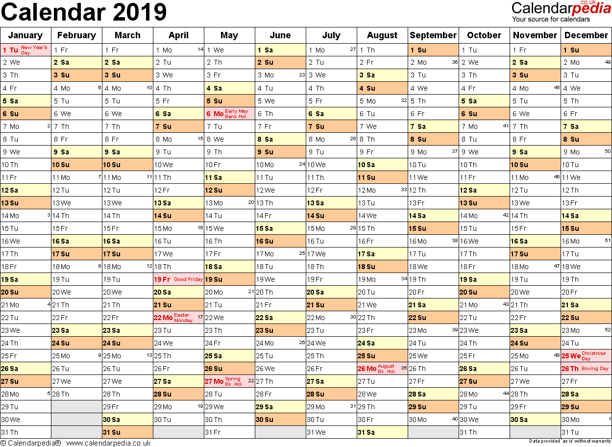 Excel Calendar 2019 (Uk): 16 Printable Templates (Xlsx, Free) inside Year Planner Template Uk