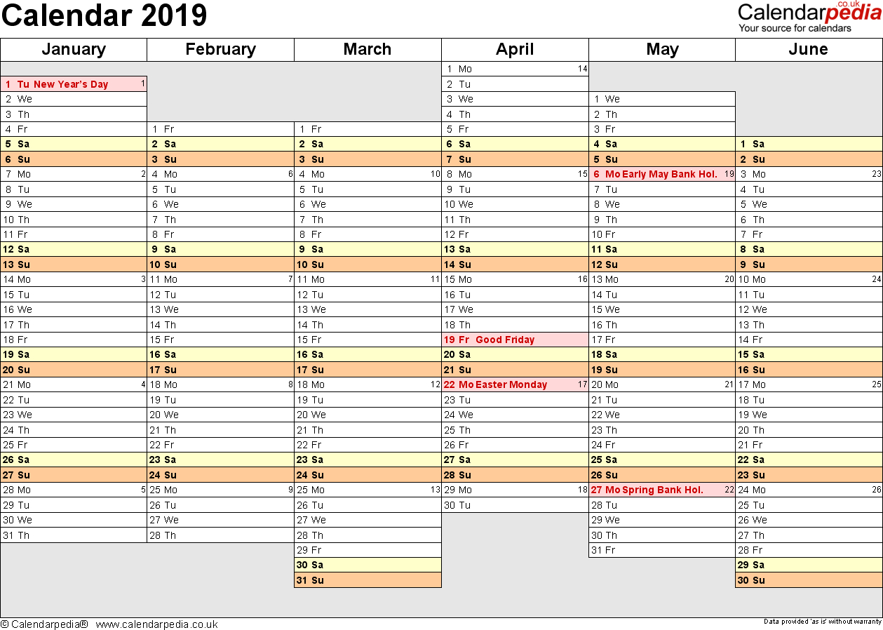 Excel Calendar 2019 (Uk): 16 Printable Templates (Xlsx, Free) throughout Year Planner Template Uk