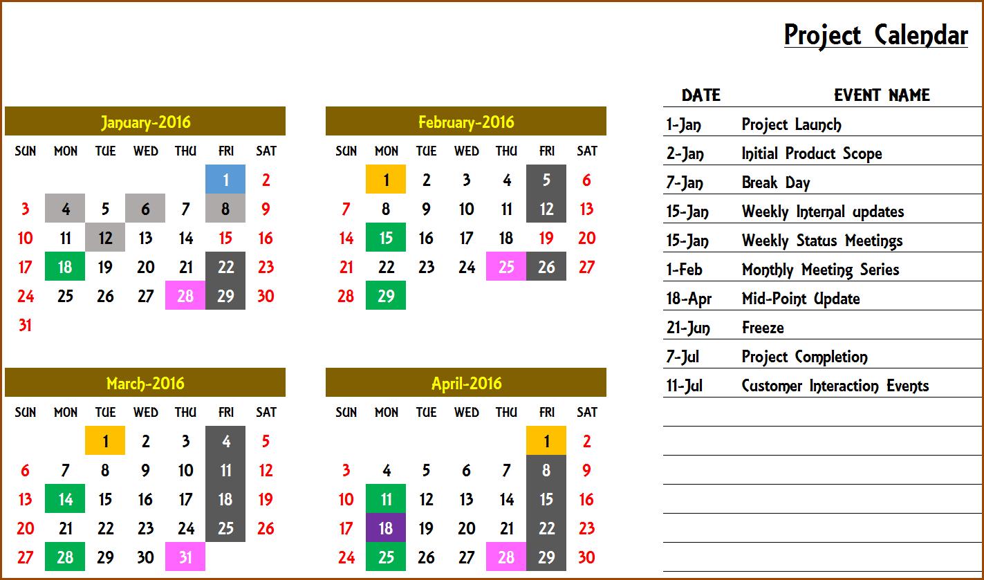 Excel Calendar Template - Excel Calendar 2019, 2020 Or Any Year for Yearly Event Calendar Template Excel