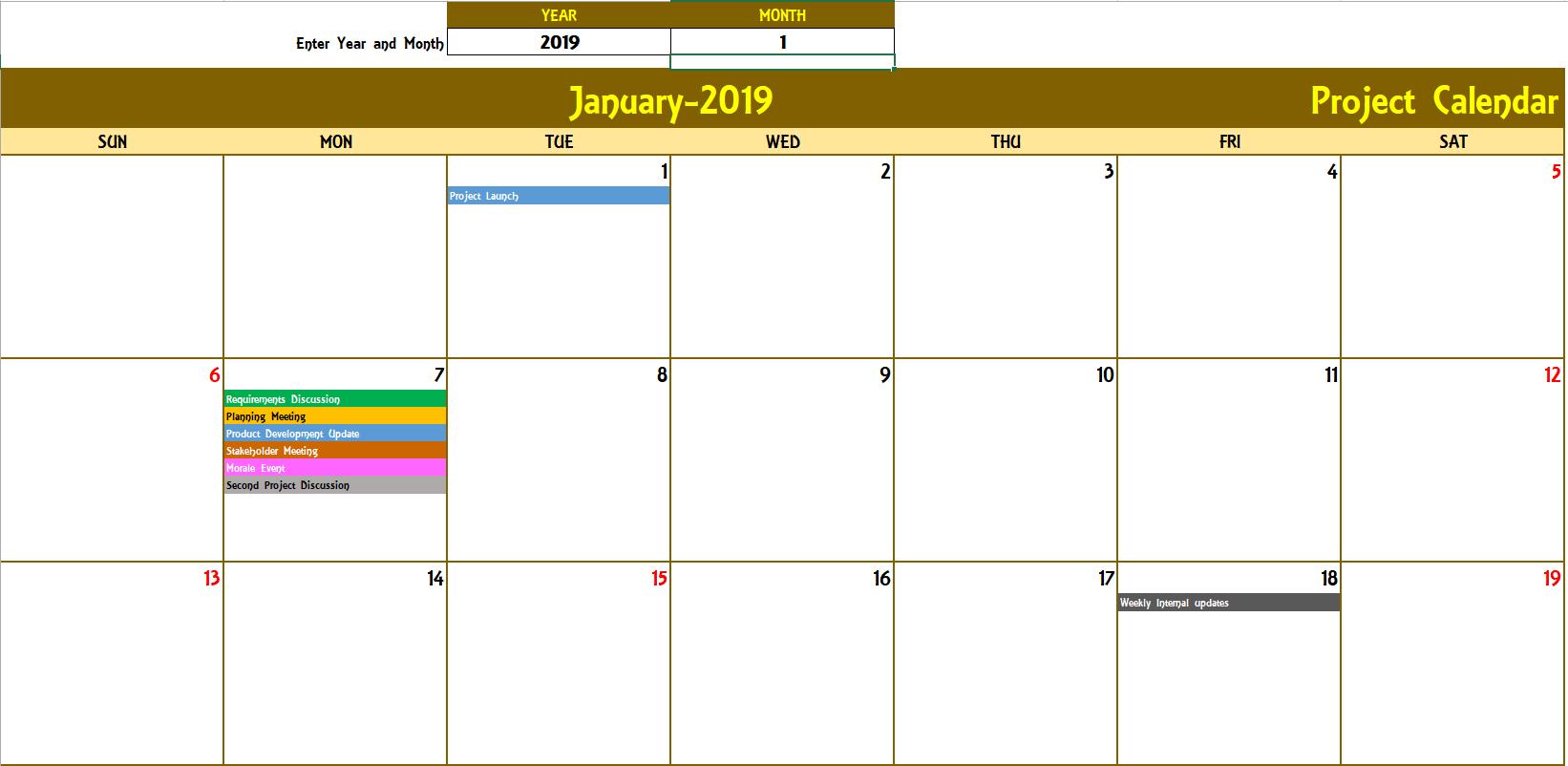 Excel Calendar Template - Excel Calendar 2019, 2020 Or Any Year inside Excel Monthly Calendar Template