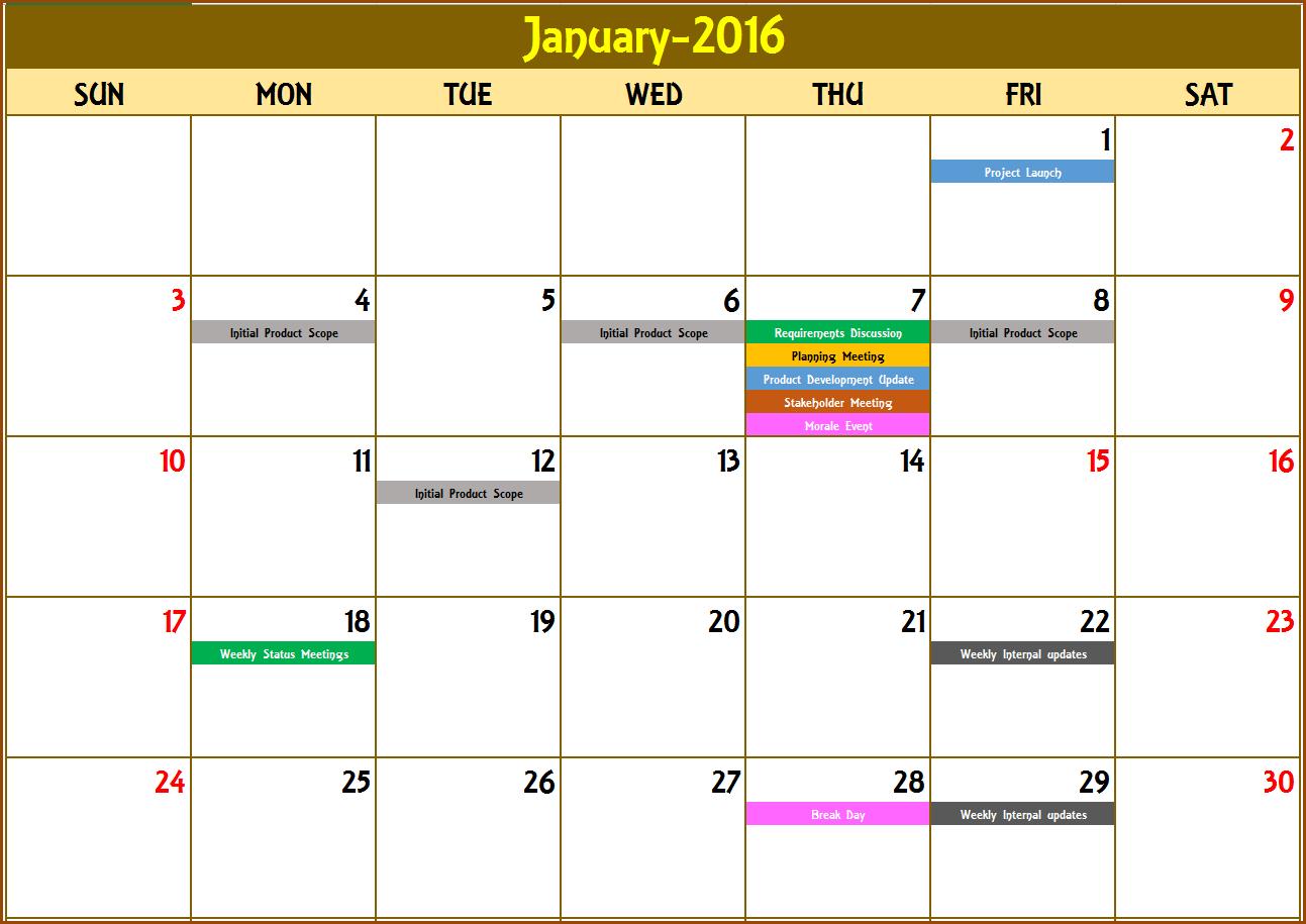 Excel Calendar Template - Excel Calendar 2019, 2020 Or Any Year inside Excel Template For Calendar