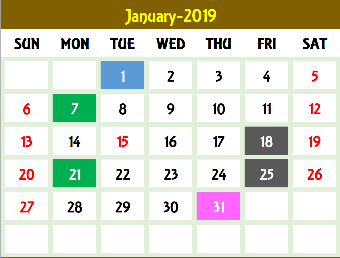 Excel Calendar Template - Excel Calendar 2019, 2020 Or Any Year intended for Calendar To Type On 2019 - 2020