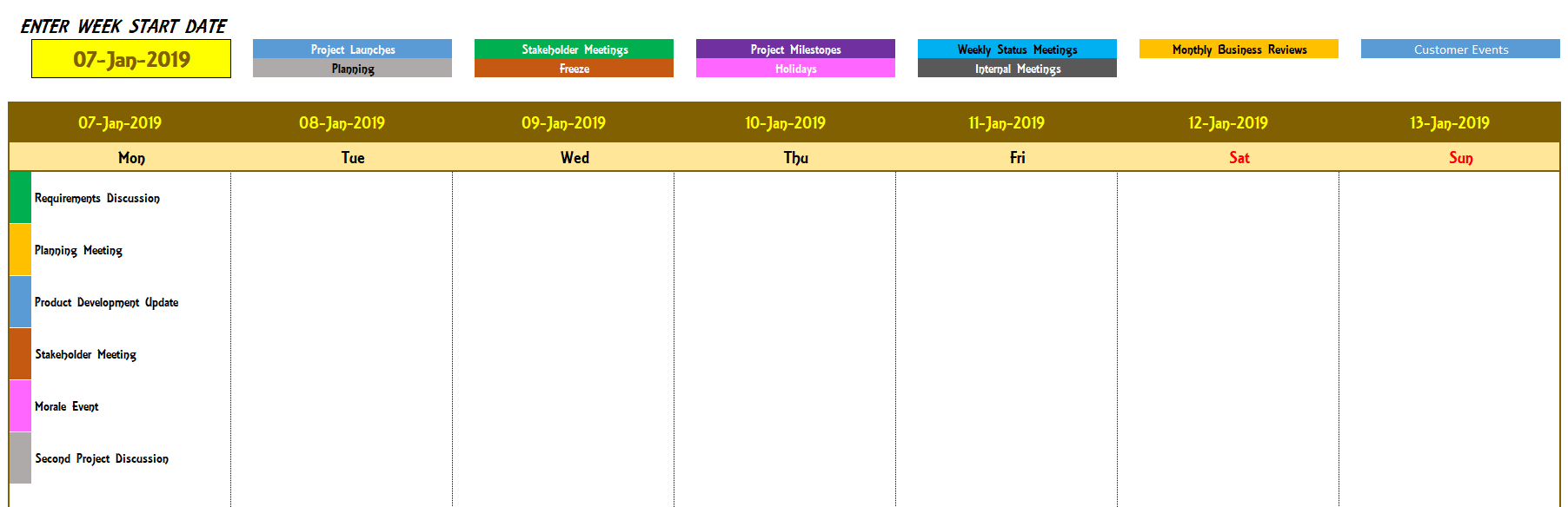Excel Calendar Template - Excel Calendar 2019, 2020 Or Any Year intended for Excel Weekly Calendar Template