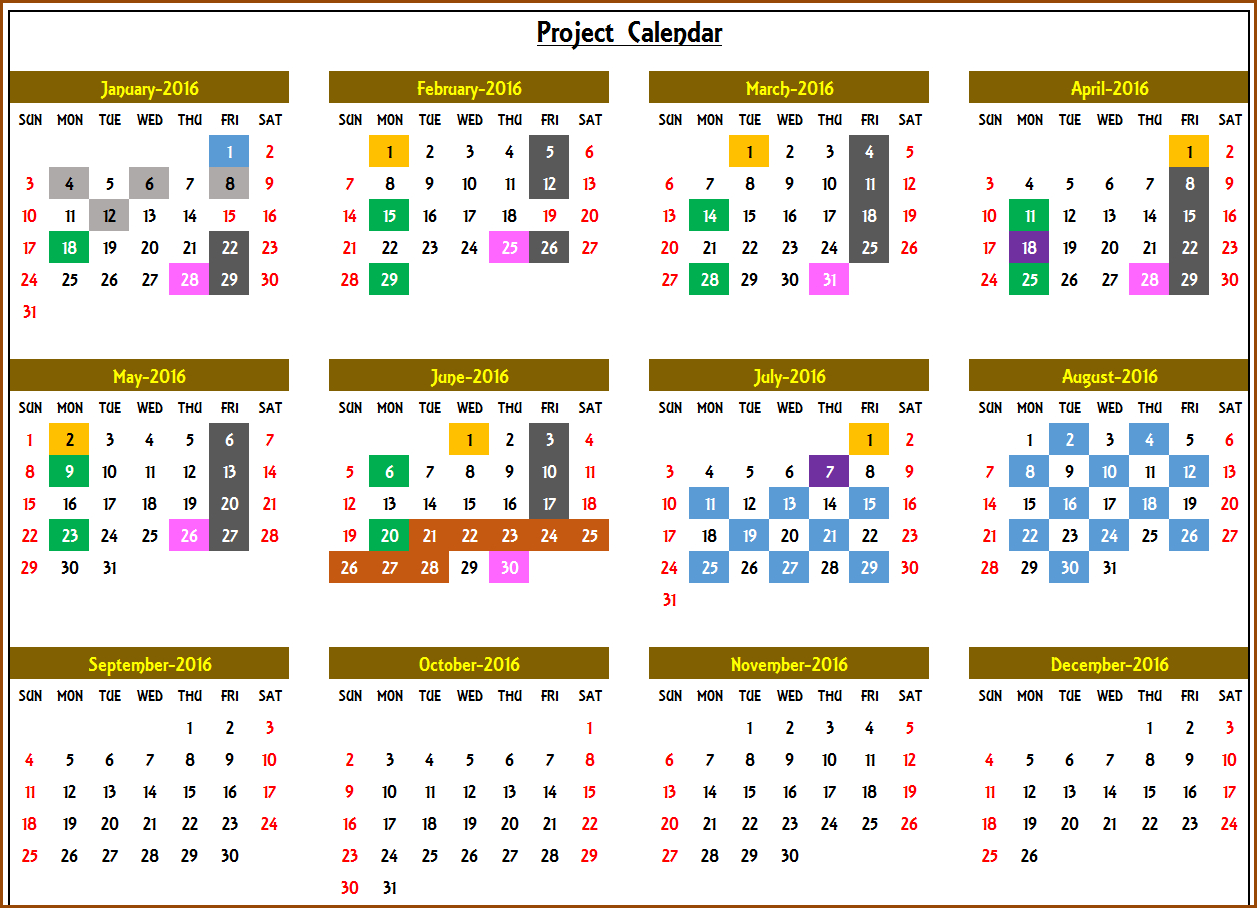 Excel Calendar Template - Excel Calendar 2019, 2020 Or Any Year intended for Yearly Event Calendar Template Excel