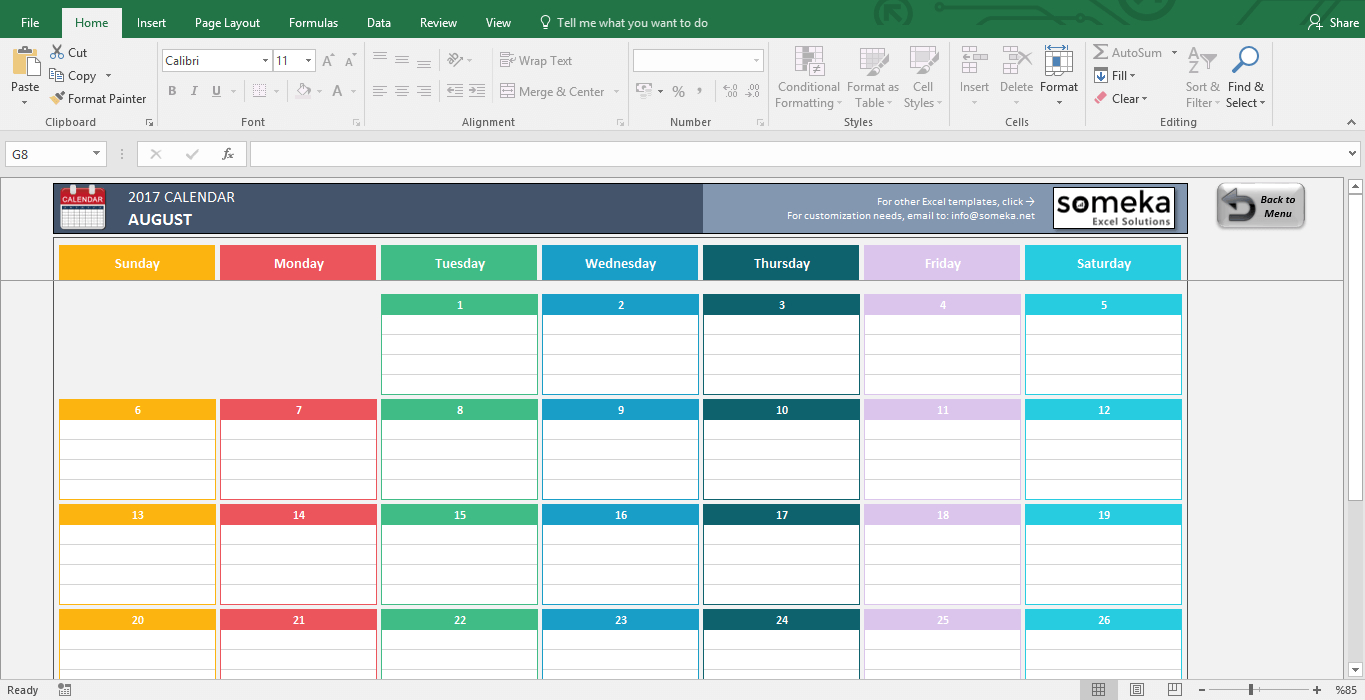 Excel Calendar Template for Yearly Calendar Excel Template