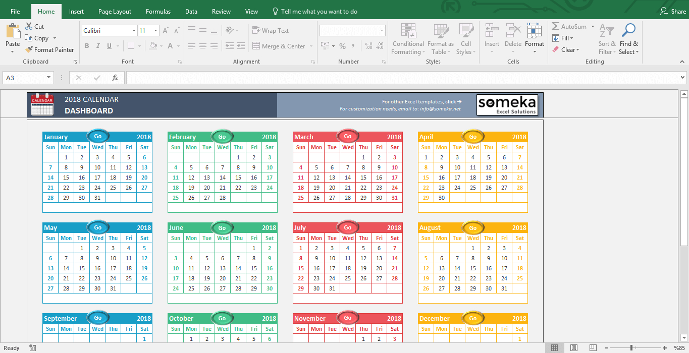 Excel Calendar Template intended for Blank Calendar Of Events Template