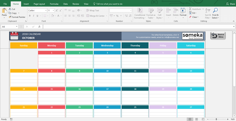 Excel Calendar Template regarding Monthly Calendar Excel Template Free