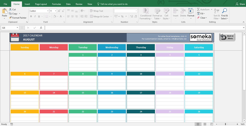 Excel Calendar Template throughout Excel Calendar Template Bill Pay