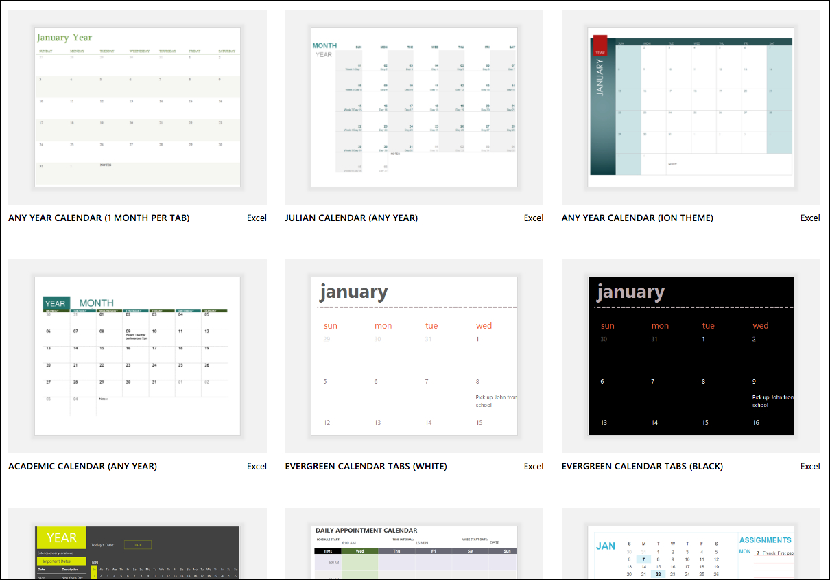 Excel Calendar Templates - Excel with Editable Calendars Download Template