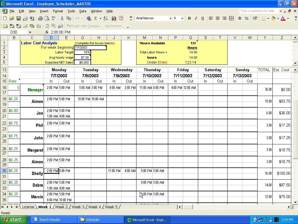 Excel Crewing Schedule | Employee Scheduler For Excel And Openoffice throughout 3 Day Shift Restaurant Template Sheets Excel