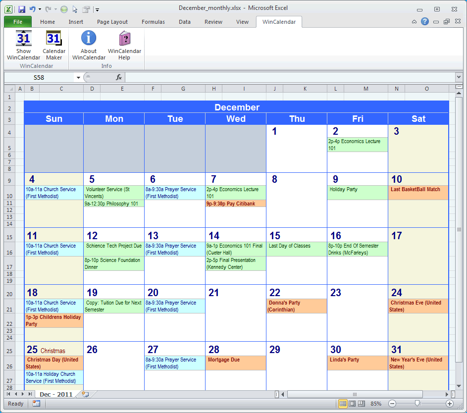 Excel Monthly Calendar Planner Plate Schedule Free Software Download inside Calendar Planner Template Excel