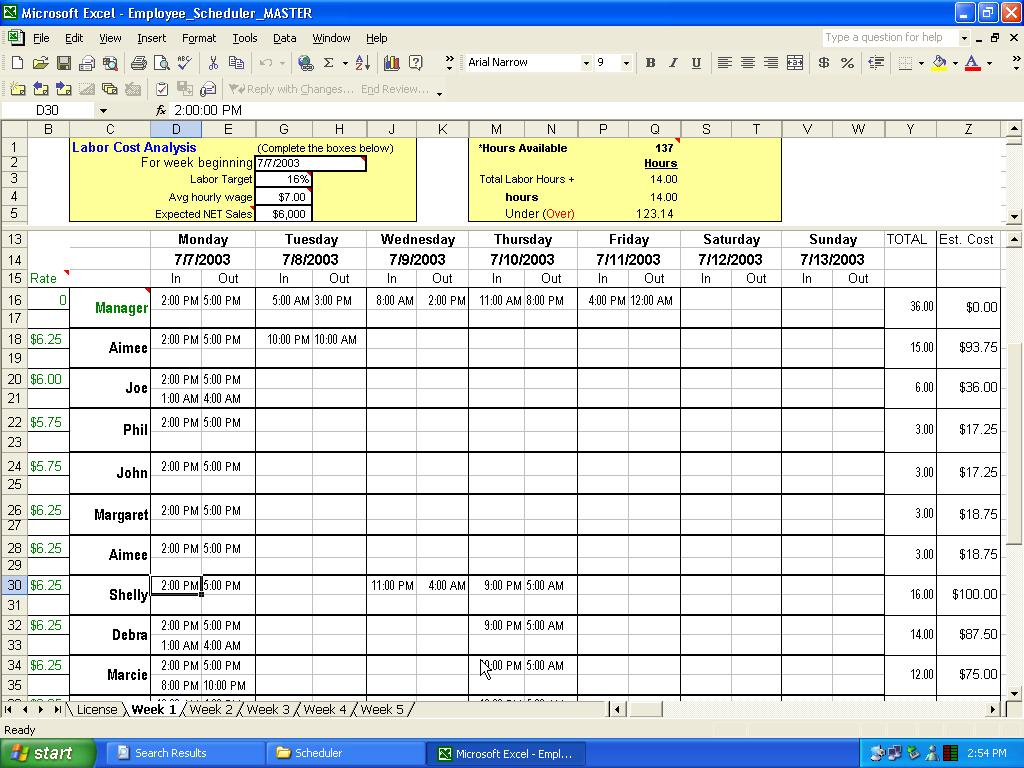Excel Schedule Template Unique Photos Appointment Scheduler Template for 2 Week Work Schedule Templates