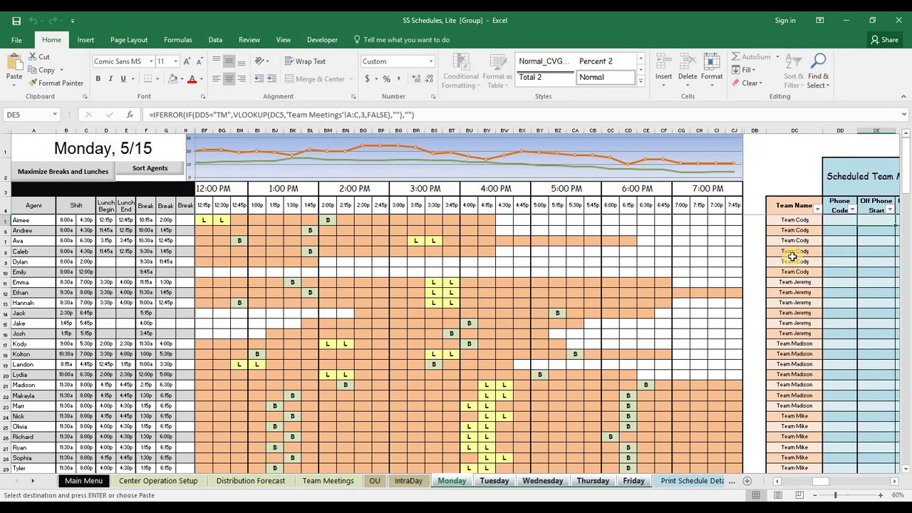 Excel Spreadsheet Schedule Template Plan And Your Call Center Agents regarding 3 Day Shift Restaurant Template Sheets Excel