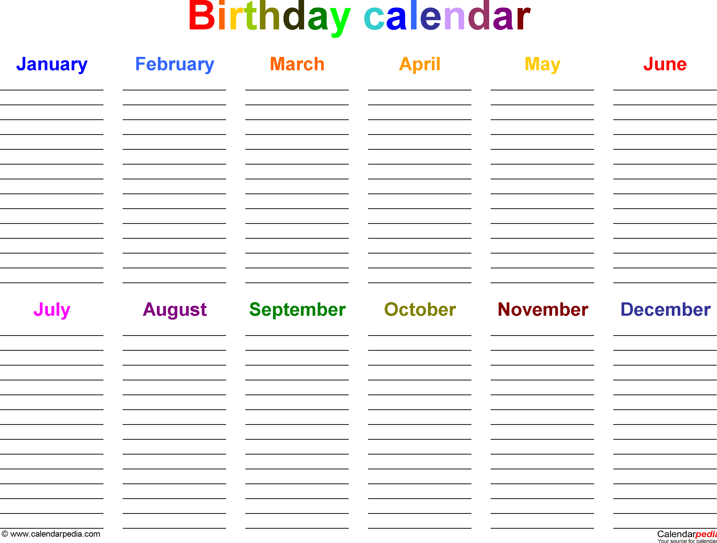 Excel Template For Birthday Calendar In Color (Landscape Orientation with 12 Month Birthday Calendar Template