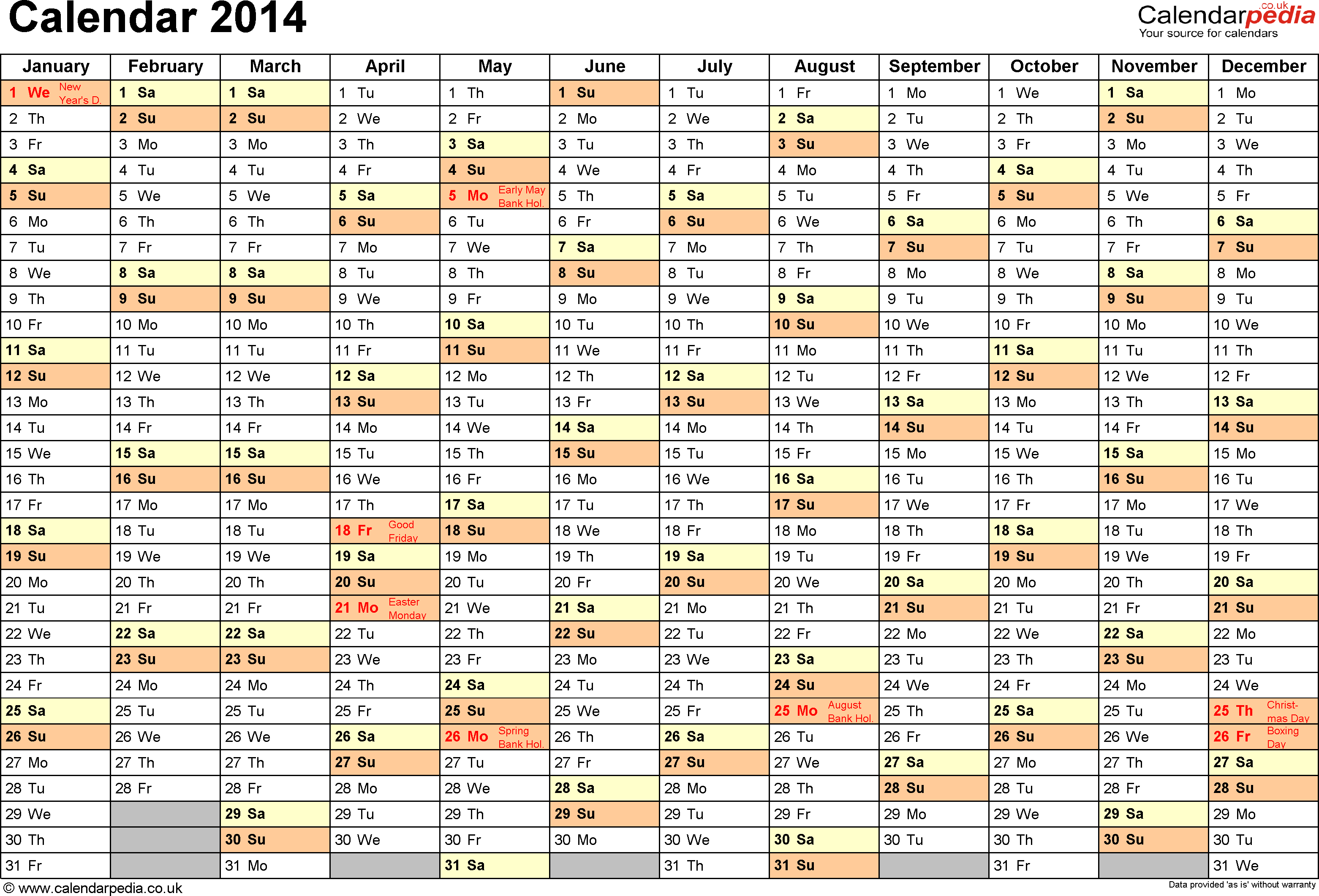Excel Year Planner/calendar 2014 Uk: 15 Free Printable Templates with regard to Year Planner Template Uk