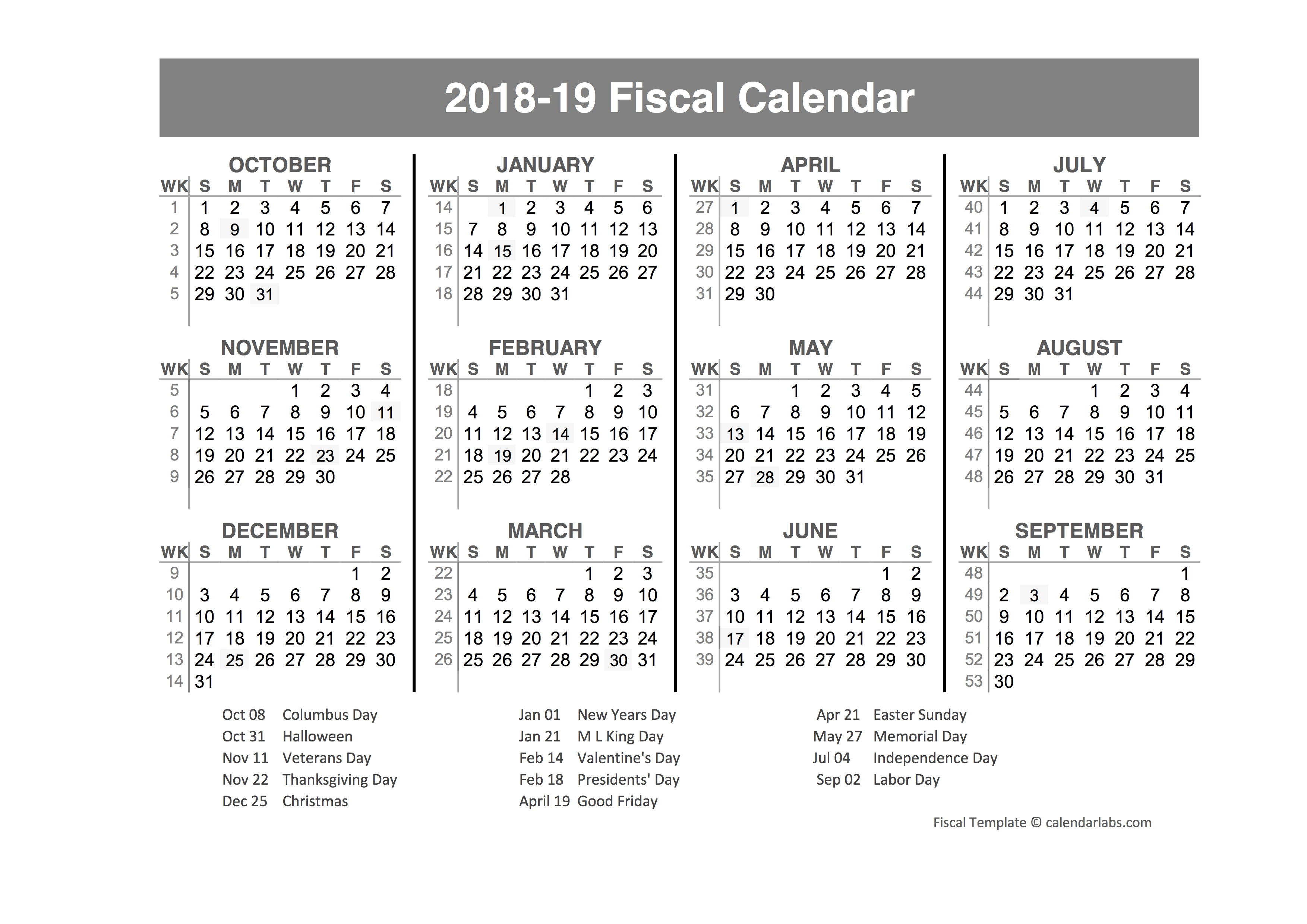 Excellent 35 Examples Fiscal Calendars 2019 As   Blank Calendar intended for Free/fiscal Year Calendar Template