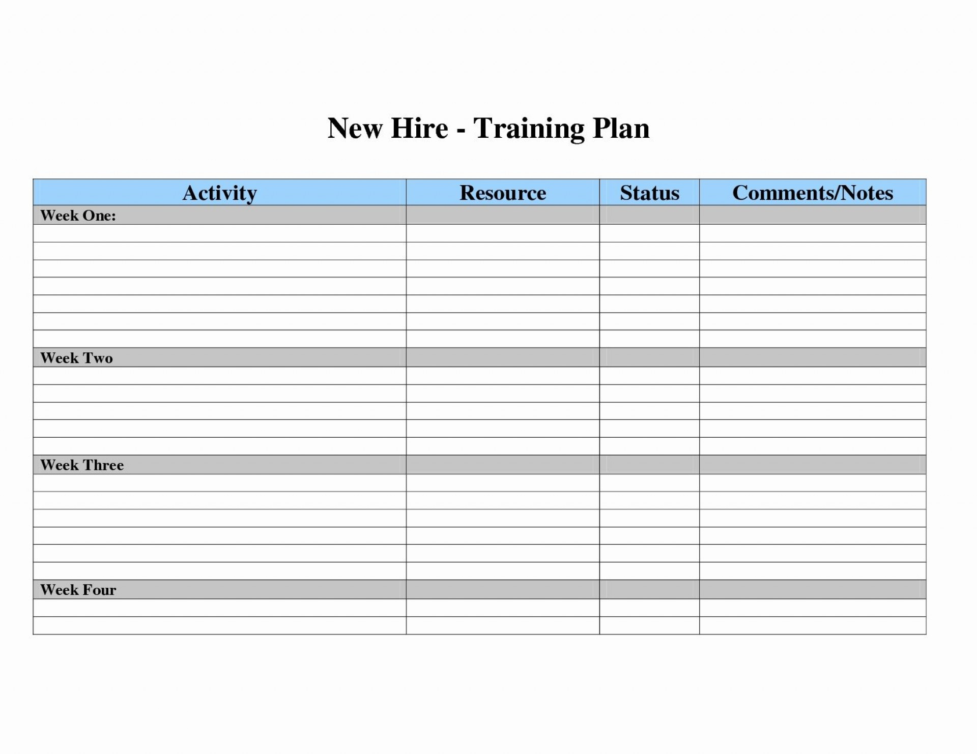 Exceptional Sample Training Plan Template For Employees Templates inside New Employee Orientation Template With Calendar