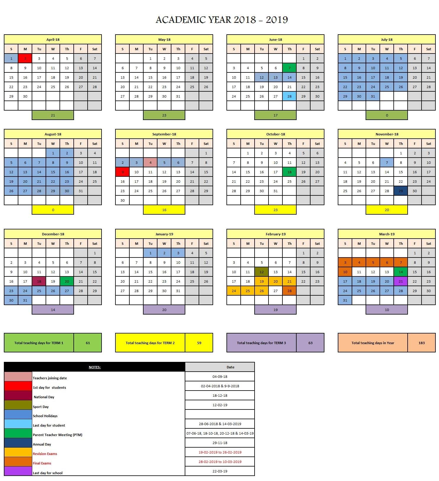 Exceptional School Calendar Qatar 2019 • Printable Blank Calendar regarding School Year Calendar 2019-2020 Michael E. Debakey High