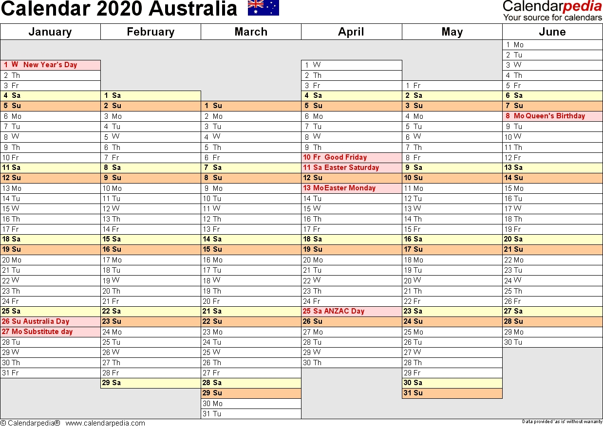 Extraordinary 2020 Calendar Template Australia • Printable Blank with regard to Free Printable 2020 Monday To Friday Australian Calender