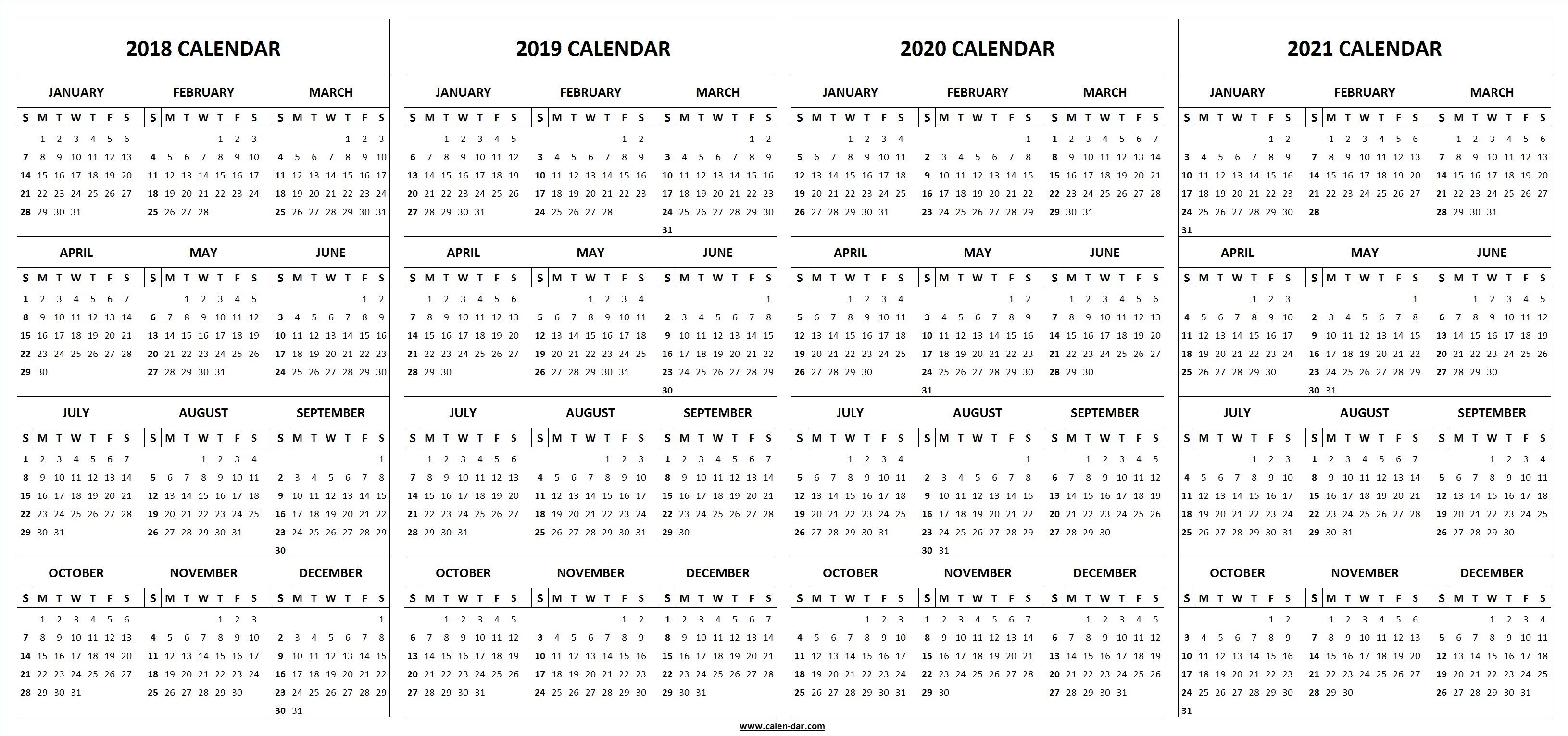 Extraordinary 3 Year Printable Calendar 2019 To 2020 • Printable in 3 Year Calendar Printable 2018 2019 2020