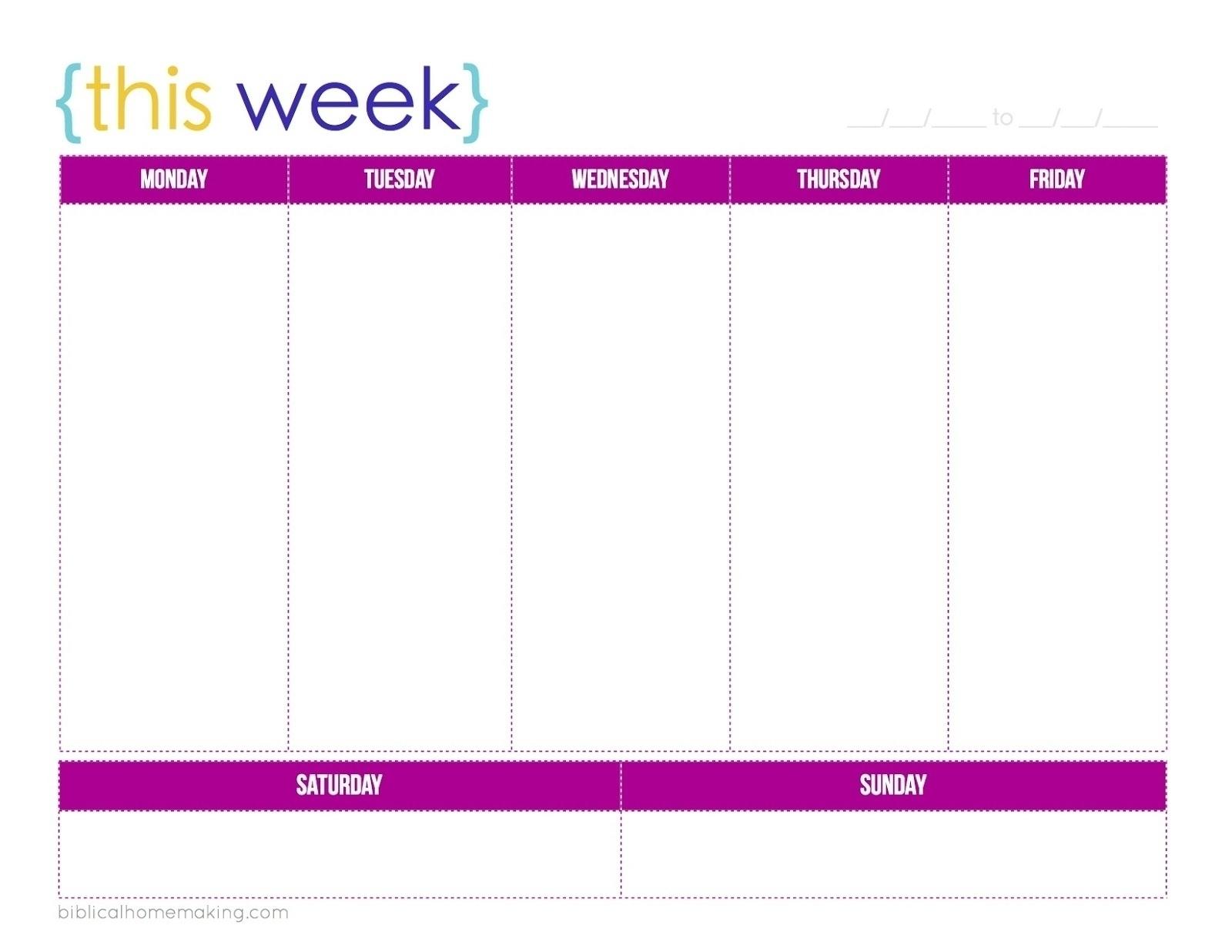 Extraordinary Blank Calendar Template 5 Day Week • Printable Blank within 5 Day Calendar Template