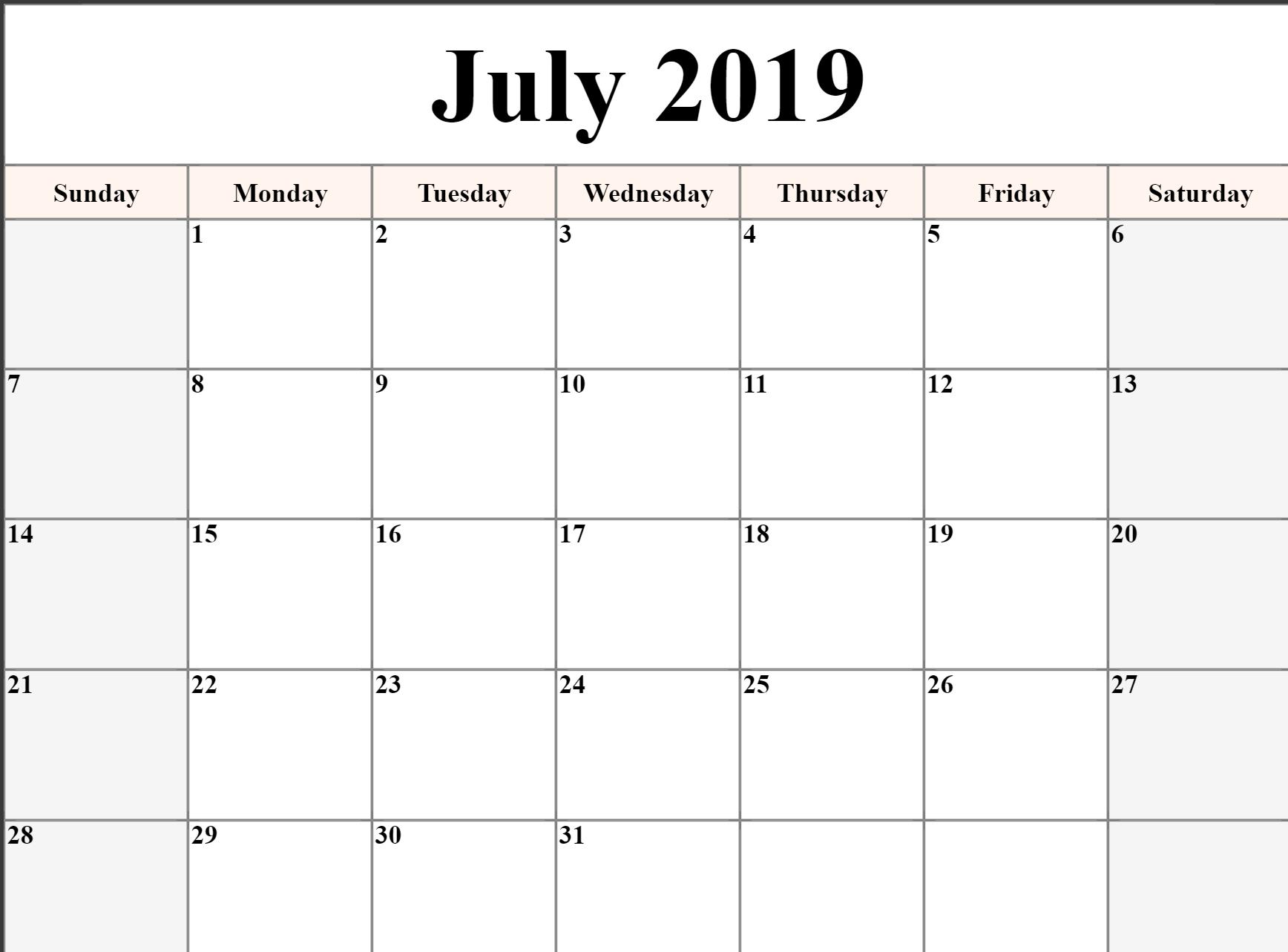👉 July Calendar 2019 Printable, Editable, A4, Landscape, Portrait in A3 Calendar Template Printable