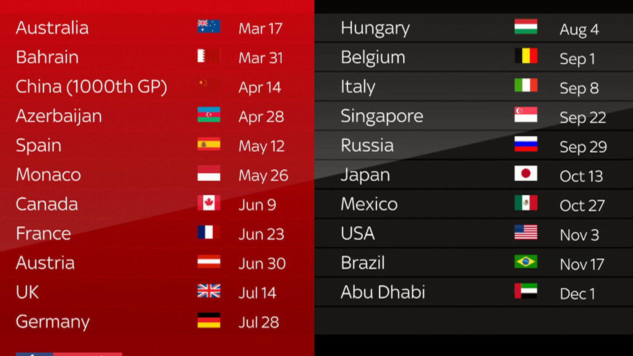 F1 2019 Schedule: 21-Race Calendar And December Finish | F1 News with regard to Stephen F Austin 2019 2020 Calendar
