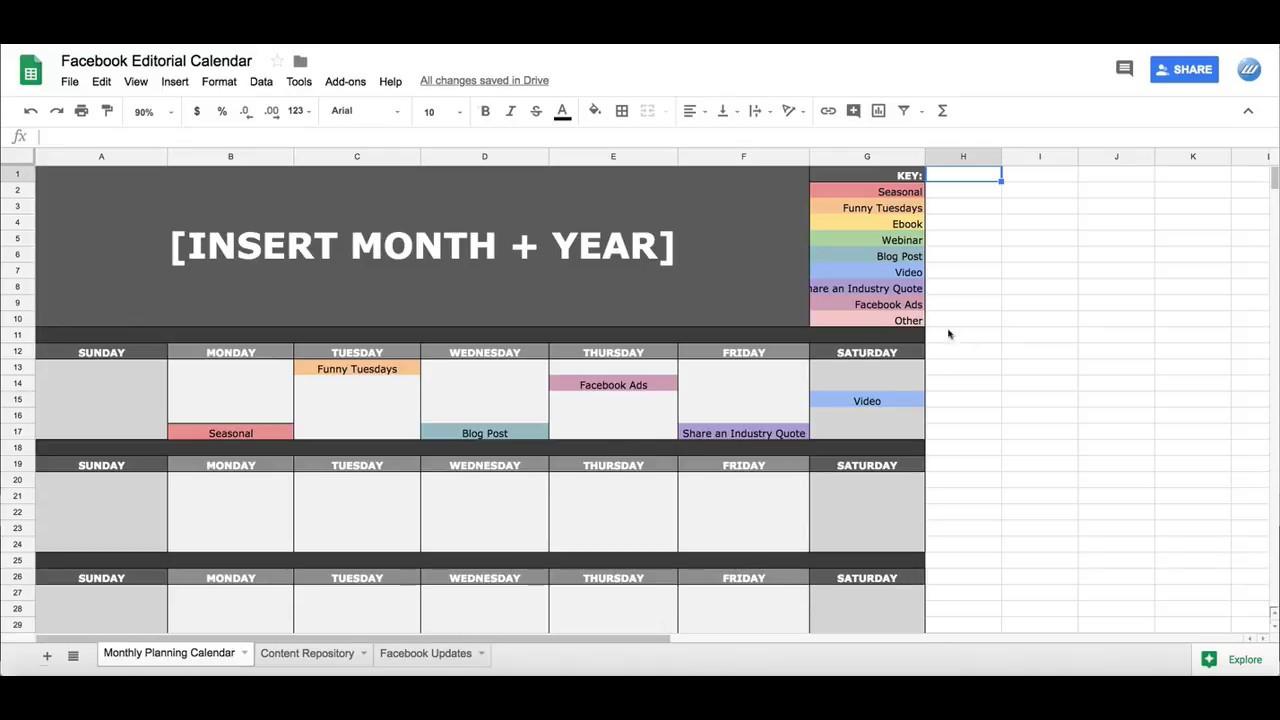Facebook Social Media Editorial Calendar In Google Sheets within Social Media Calendar Template