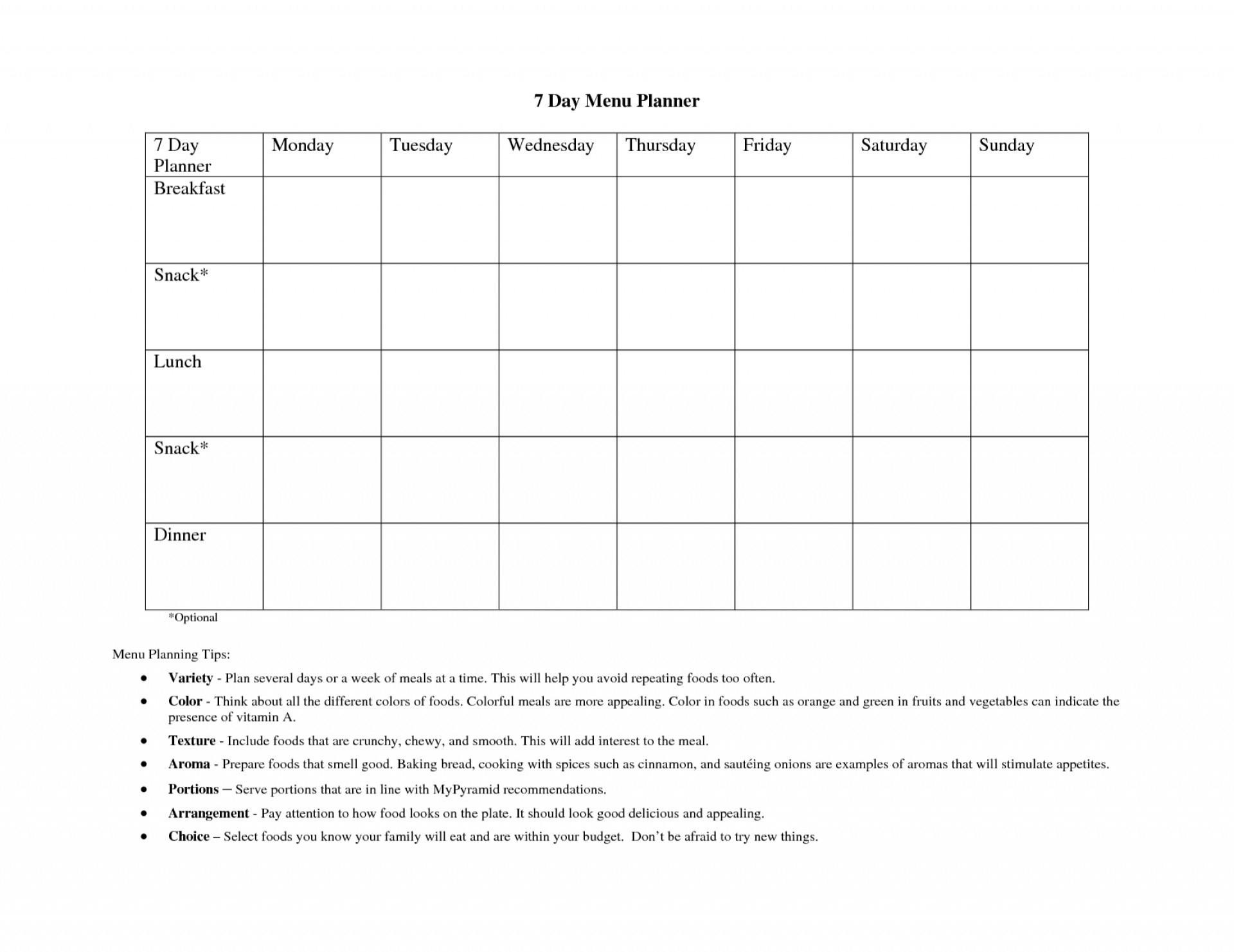 Fascinating 7 Day Meal Plan Template Templates Weight Loss Printable inside 7-Day Work Schedule Template Printable