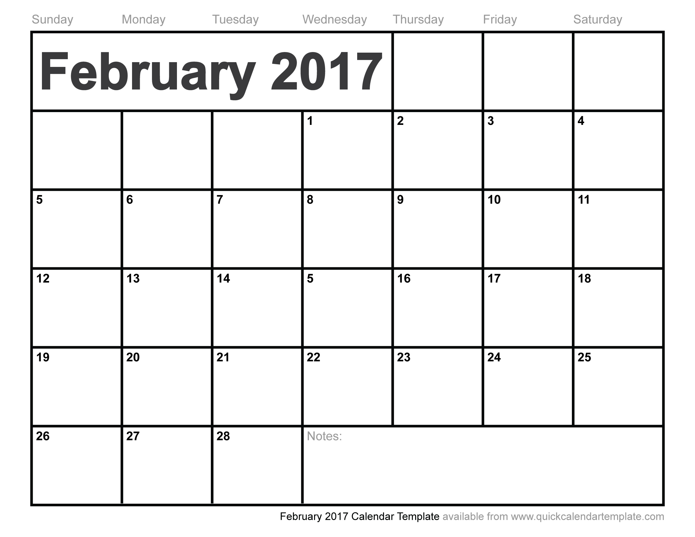 Feb 2017 Calendar Printable Word Pdf Excel Notes Document Blank in February Calendar Printable Template Blank