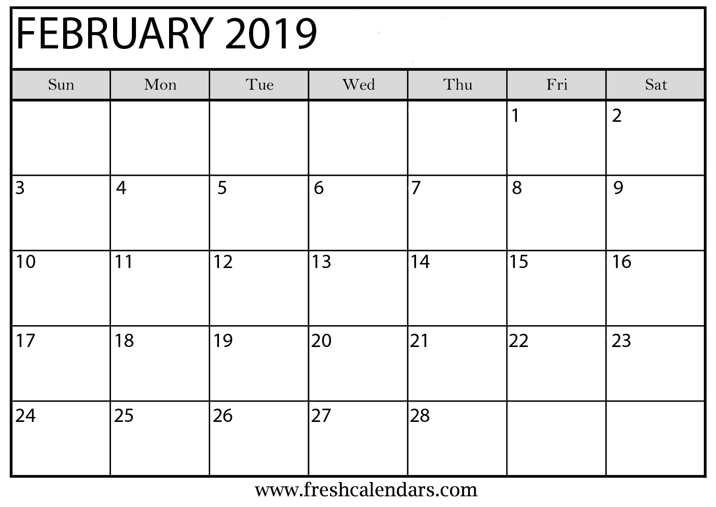 Feb 2019 Calendar Template With Holidays - Free Printable Calendar throughout Blank Calendar Print-Outs Fill In With Holidays