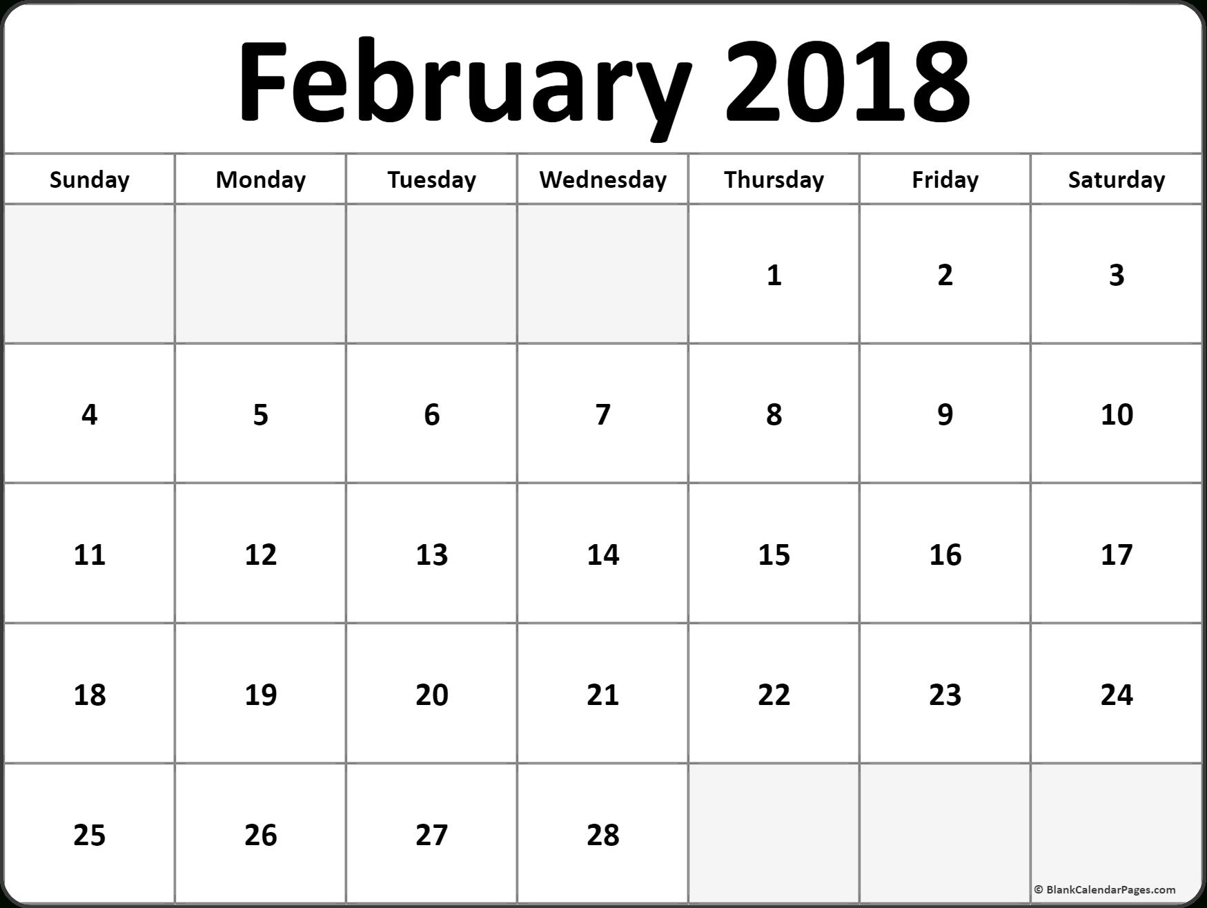 February 2018 Monthly Calendar Printout #printable #february intended for Full Size Blank Printable Calendar