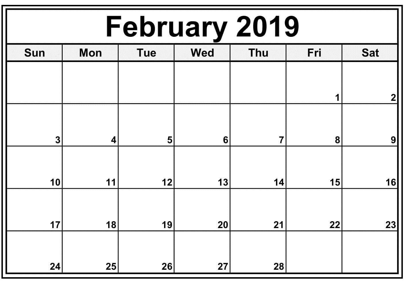 February 2019 Blank Calendar Template | February 2019 Calendar with Free Printable Blank Calendar Templates