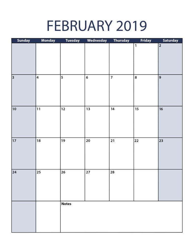 February 2019 Calendar A4 Size | February 2019 Calendar Printable for Blank Calendar With Open Squares