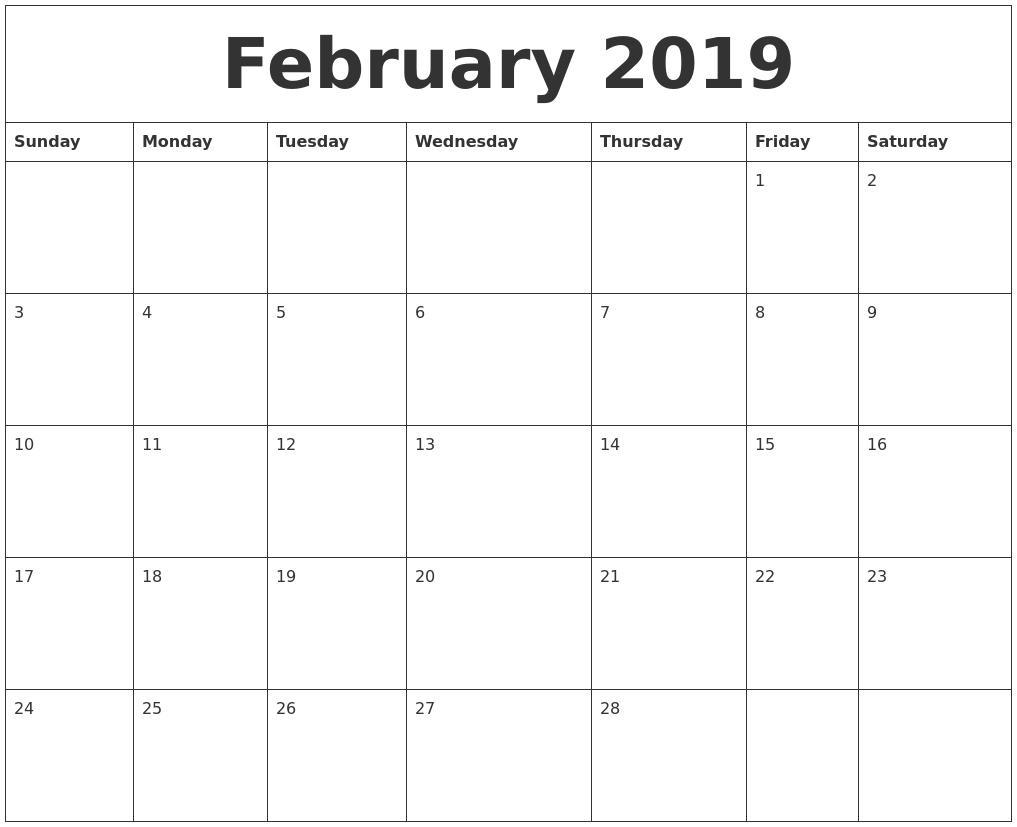 February 2019 Calendar Archives - Free June 2019 Calendar Printable intended for Null Blank Calendar To Print