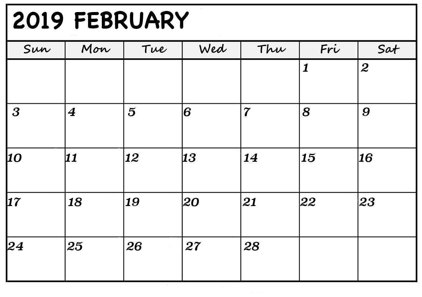 February 2019 Calendar Excel | February 2019 Calendar | Blank throughout Monthly Calendar Excel Template Free